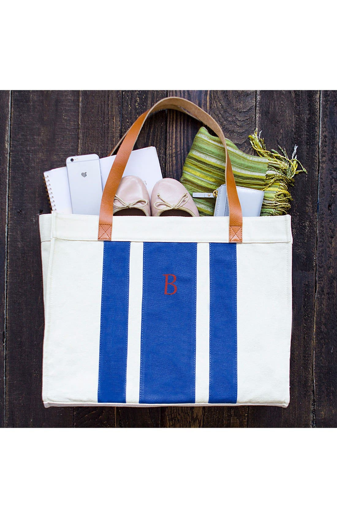 Alternate Image 5  - Cathy's Concepts Monogram Canvas Tote