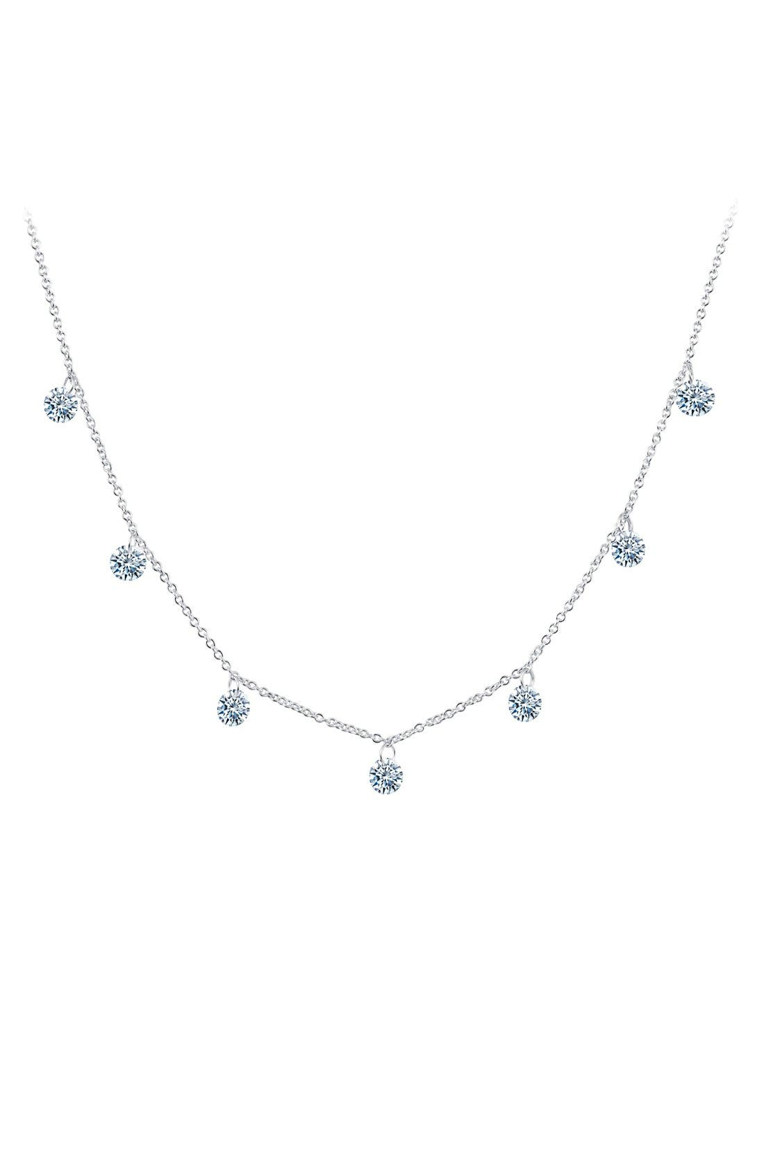 Lassaire In Motion Frameless Raindrop Necklace,                             Main thumbnail 1, color,                             Silver