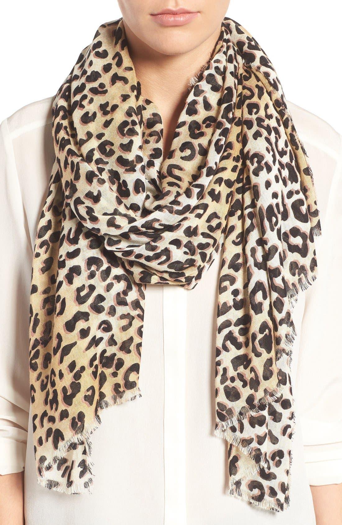 Leopard Print Wrap,                             Main thumbnail 1, color,                             Brown Combo