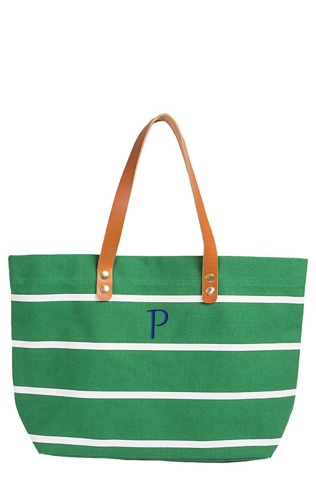 Monogram Stripe Tote,                         Main,                         color, Green-P
