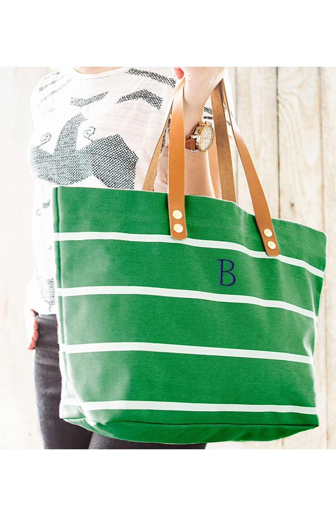 Alternate Image 5  - Cathy's Concepts Monogram Stripe Tote