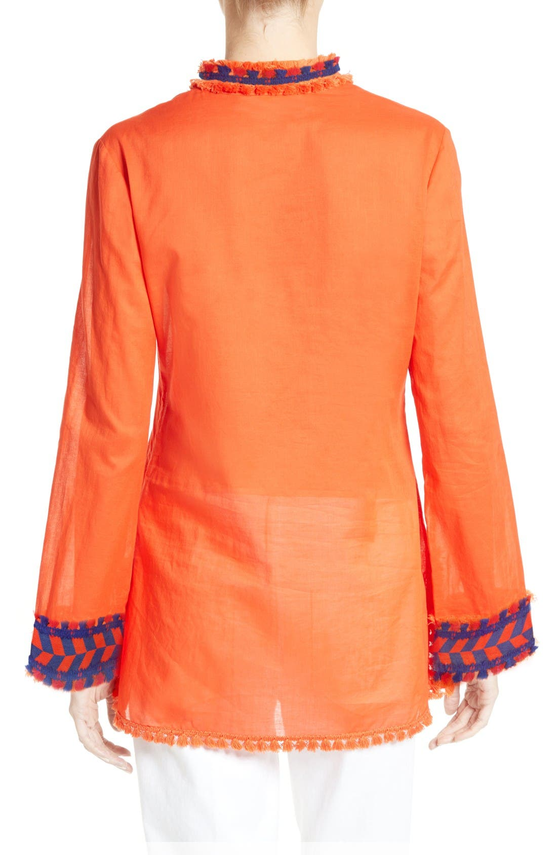Alternate Image 2  - Tory Burch Tory Embellished Sheer Poplin Tunic