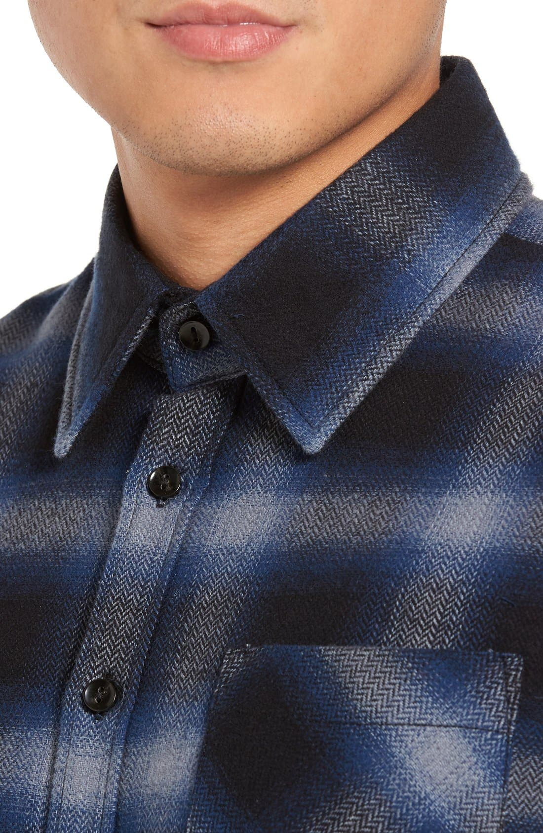Michael Slim Fit Plaid Flannel Shirt,                             Alternate thumbnail 4, color,                             Blue