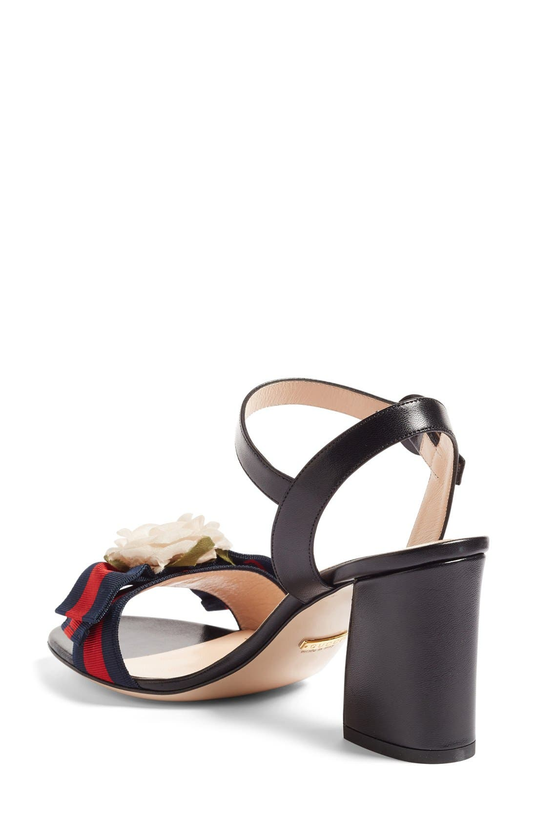 Cindi Quarter Strap Sandal,                             Alternate thumbnail 2, color,                             Black Leather