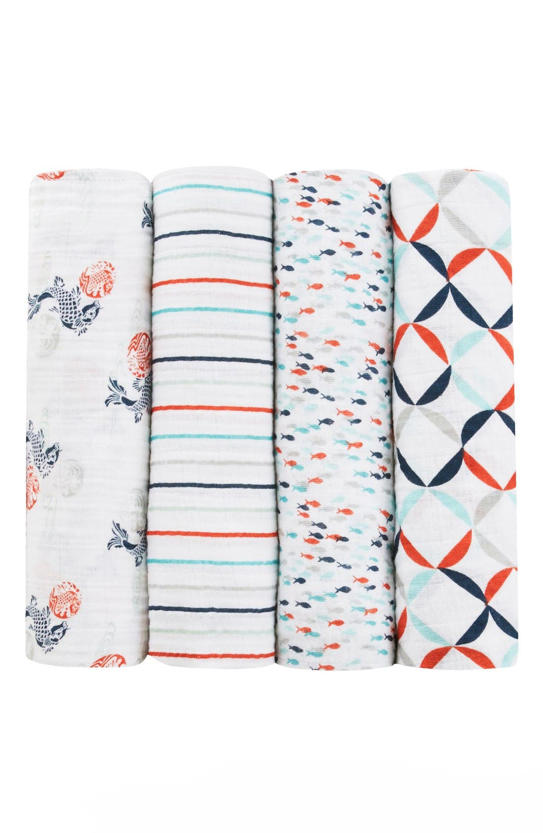 x Tea Collection 4-Pack Swaddling Cloths,                         Main,                         color, Koi