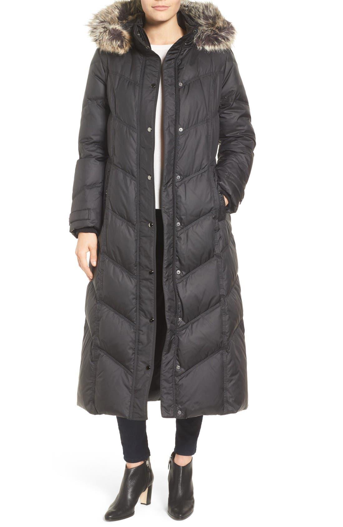 Main Image - London Fog Faux Fur Trim Quilted Maxi Coat