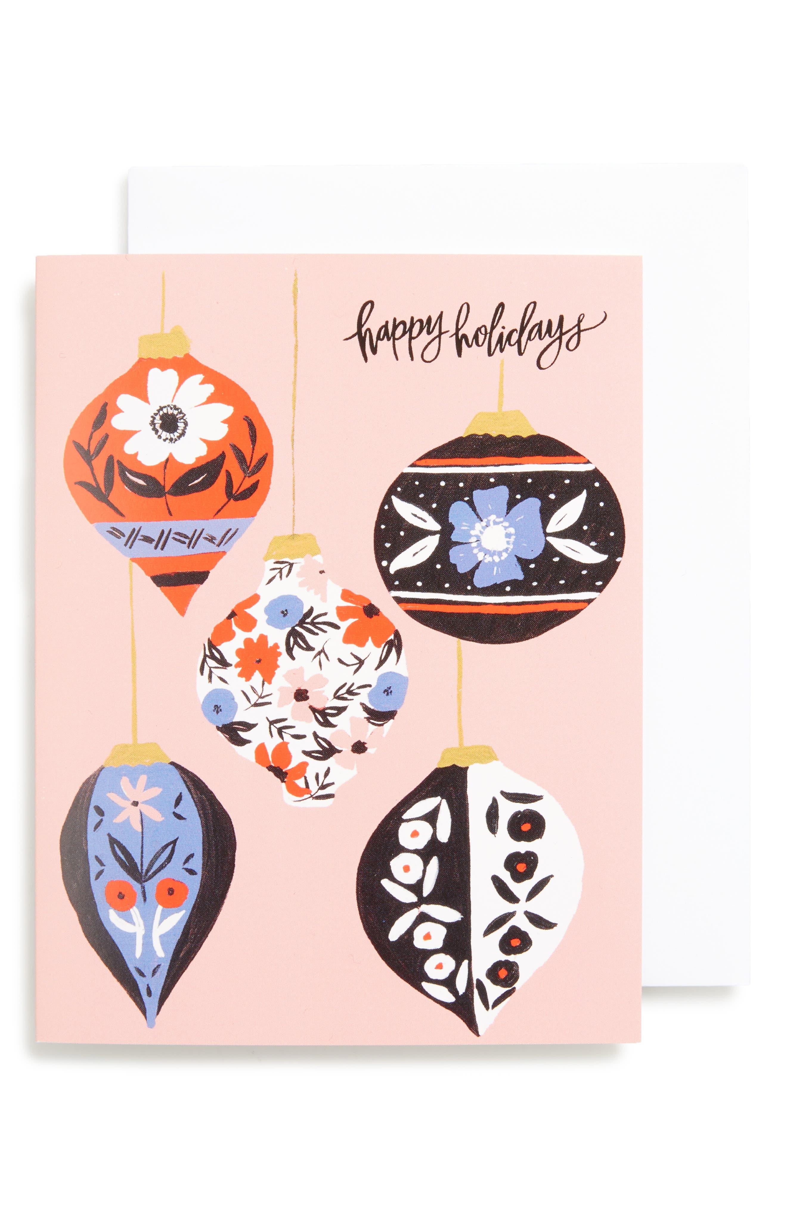 Set of 8 Retro Ornaments Greeting Cards,                             Main thumbnail 1, color,                             Pink