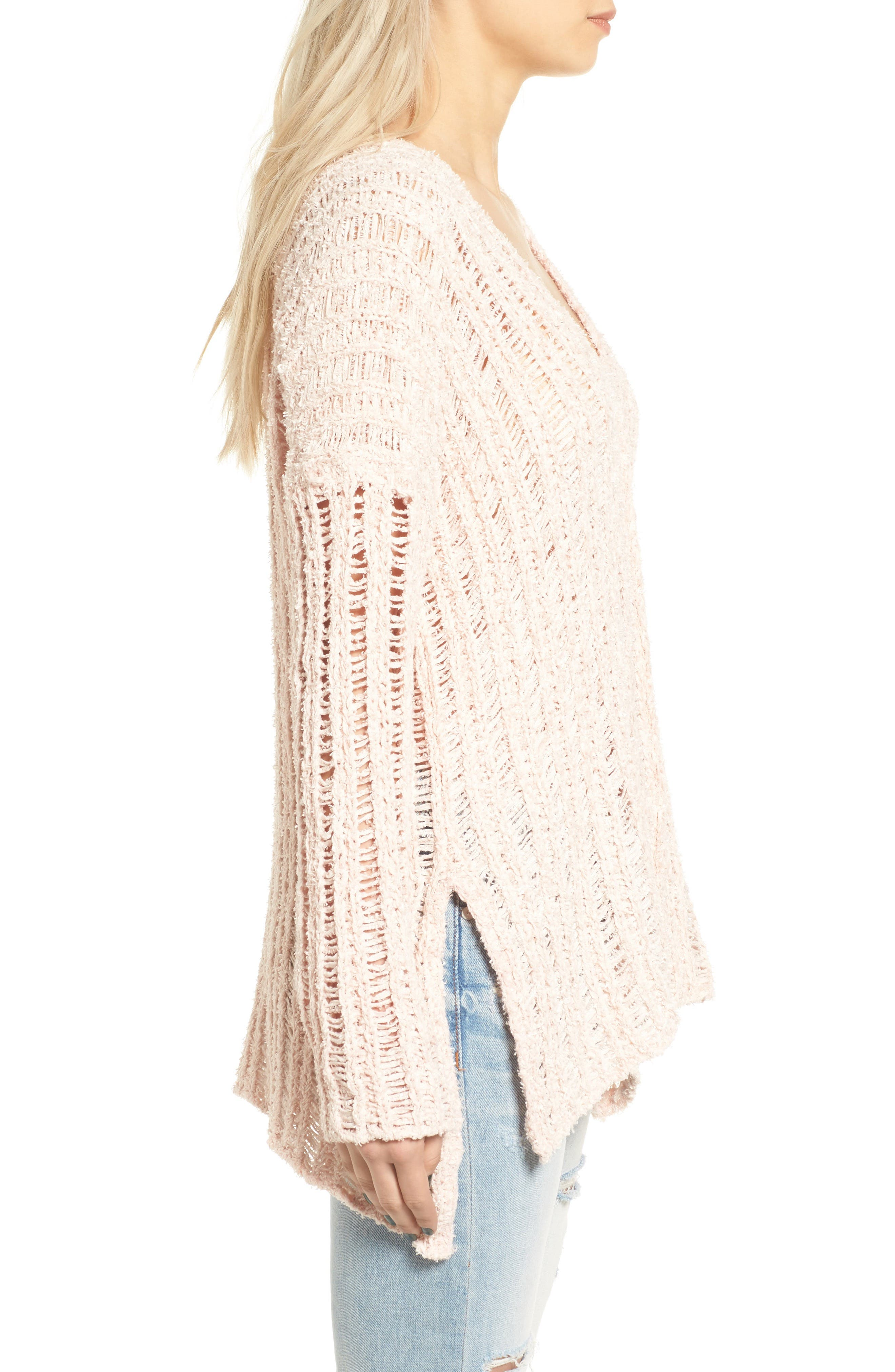 Open Knit Sweater,                             Alternate thumbnail 3, color,                             Pink Hero