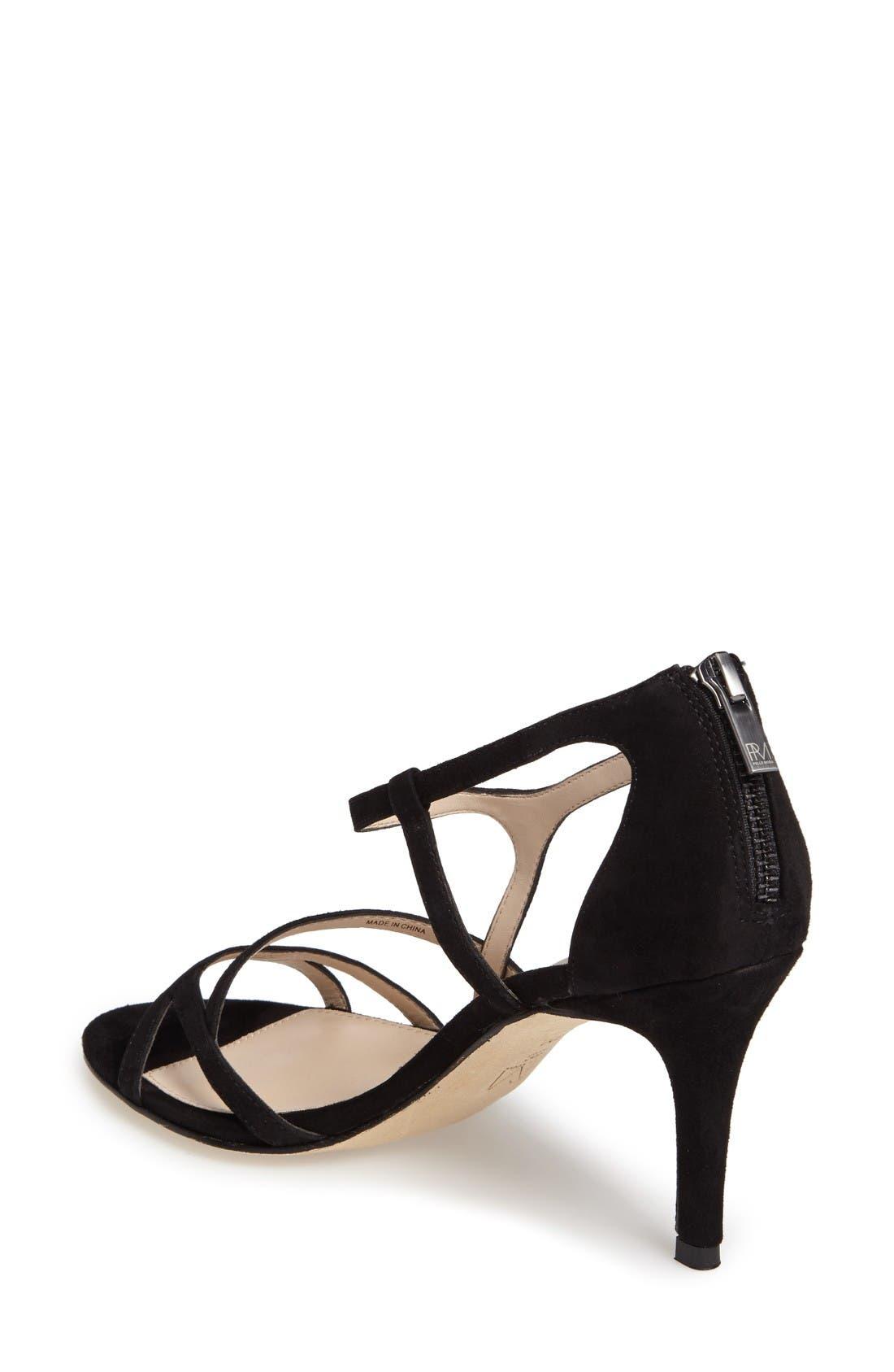 Ruby Asymmetrical Strappy Sandal,                             Alternate thumbnail 2, color,                             Black Leather