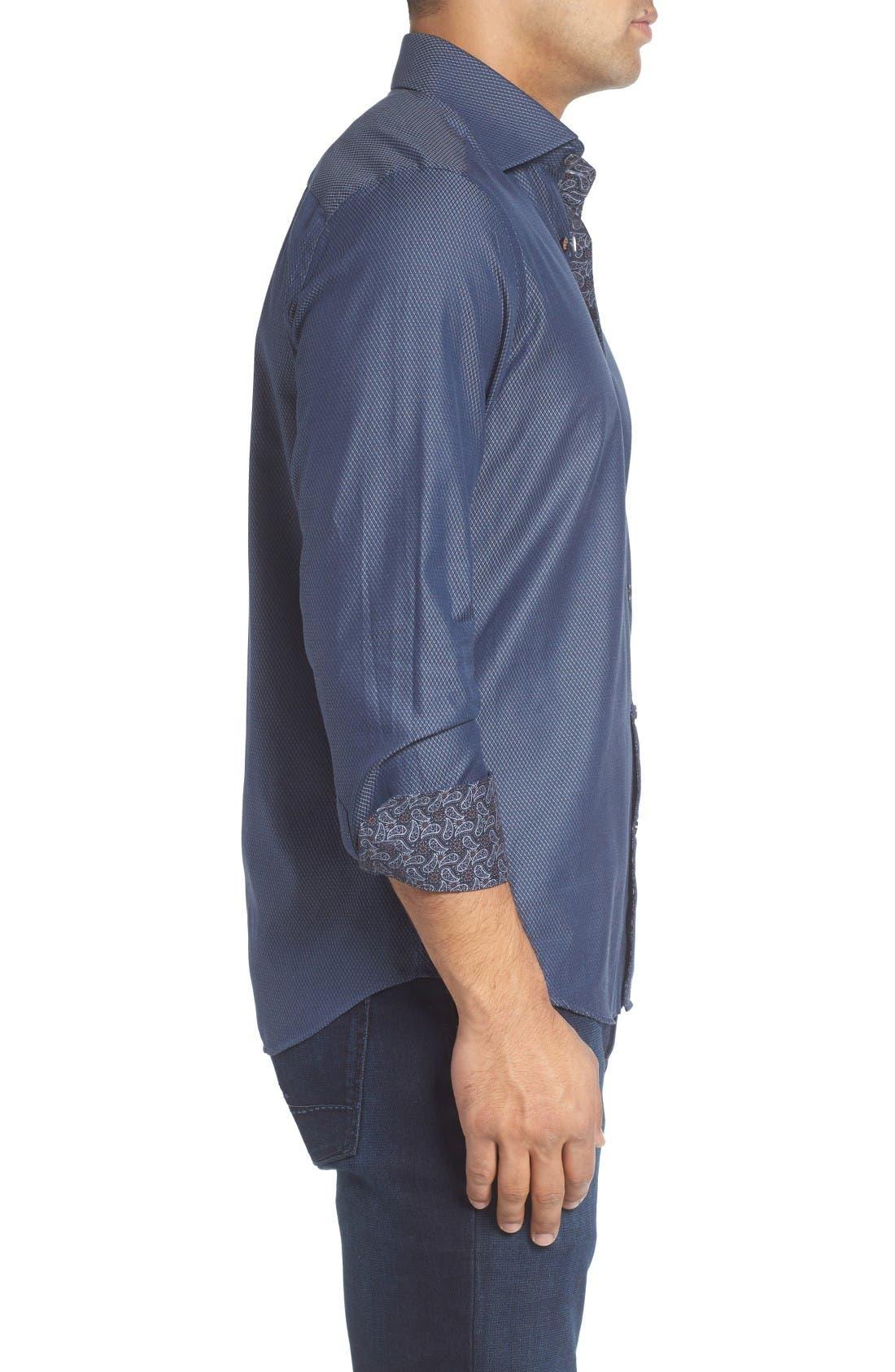 Alternate Image 3  - Stone Rose Slim Fit Diamond Jacquard Sport Shirt