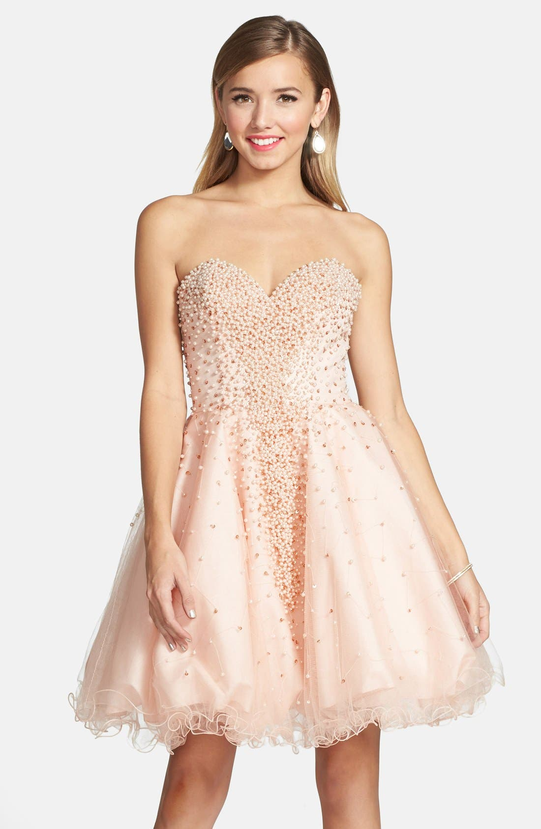 Main Image - Terani Couture Embellished Tulle Strapless Fit & Flare Dress
