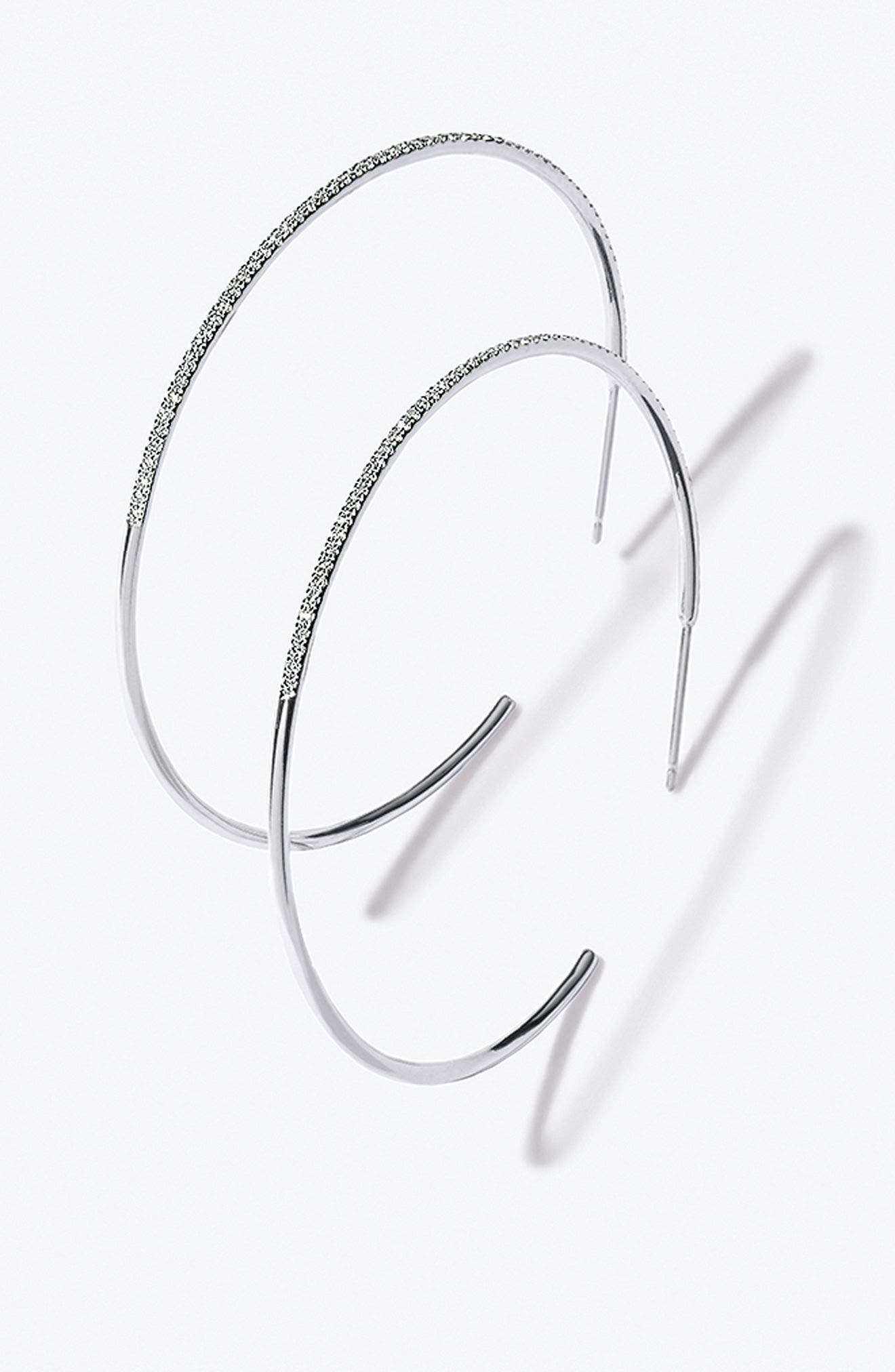 Alternate Image 2  - Bony Levy Skinny Diamond Hoop Earrings (Nordstrom Exclusive)