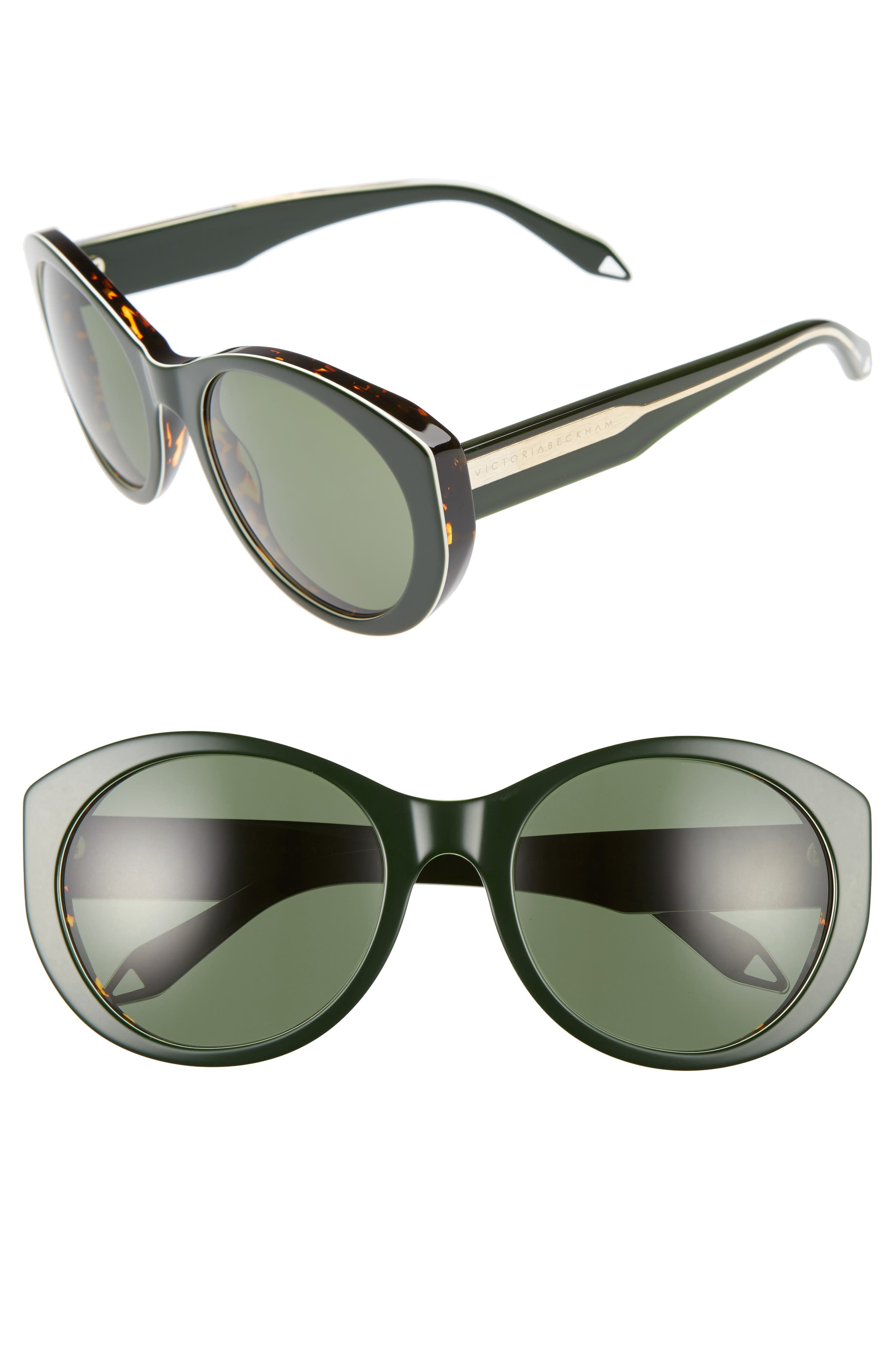 Fine Oval 59mm Sunglasses,                             Main thumbnail 1, color,                             Green/ Grey