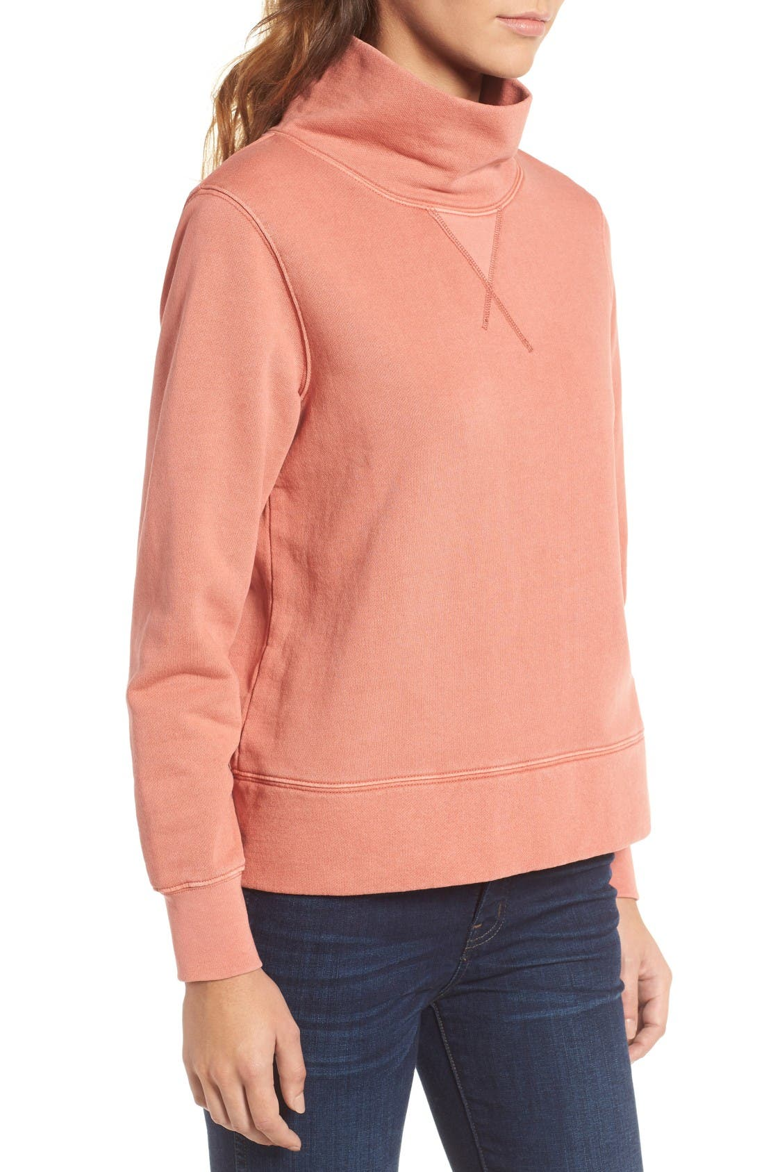 Garment Dyed Funnel Neck Sweatshirt,                             Alternate thumbnail 3, color,                             Rusted Tin
