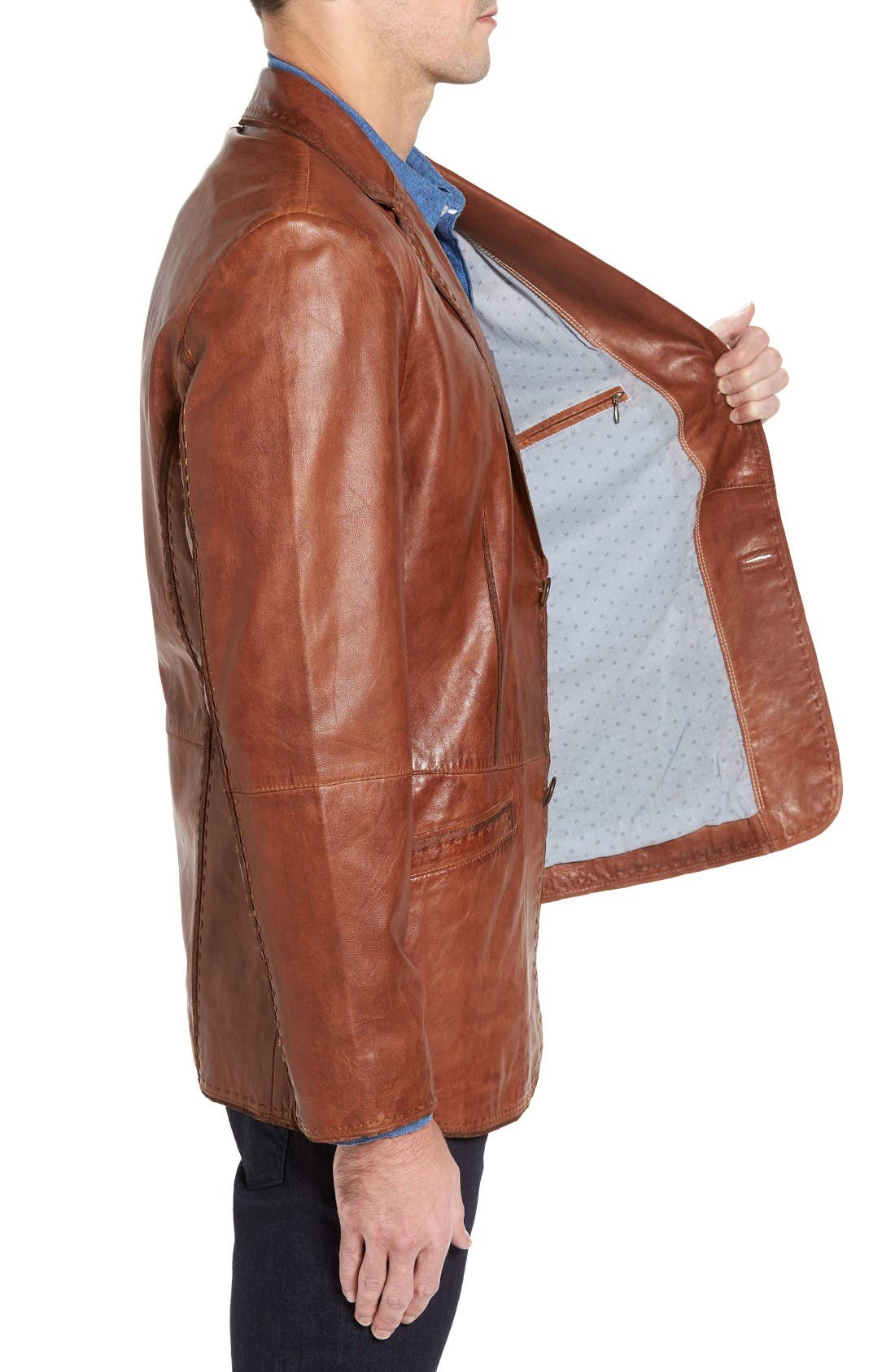 Lamb Leather Blazer,                             Alternate thumbnail 3, color,                             Cognac