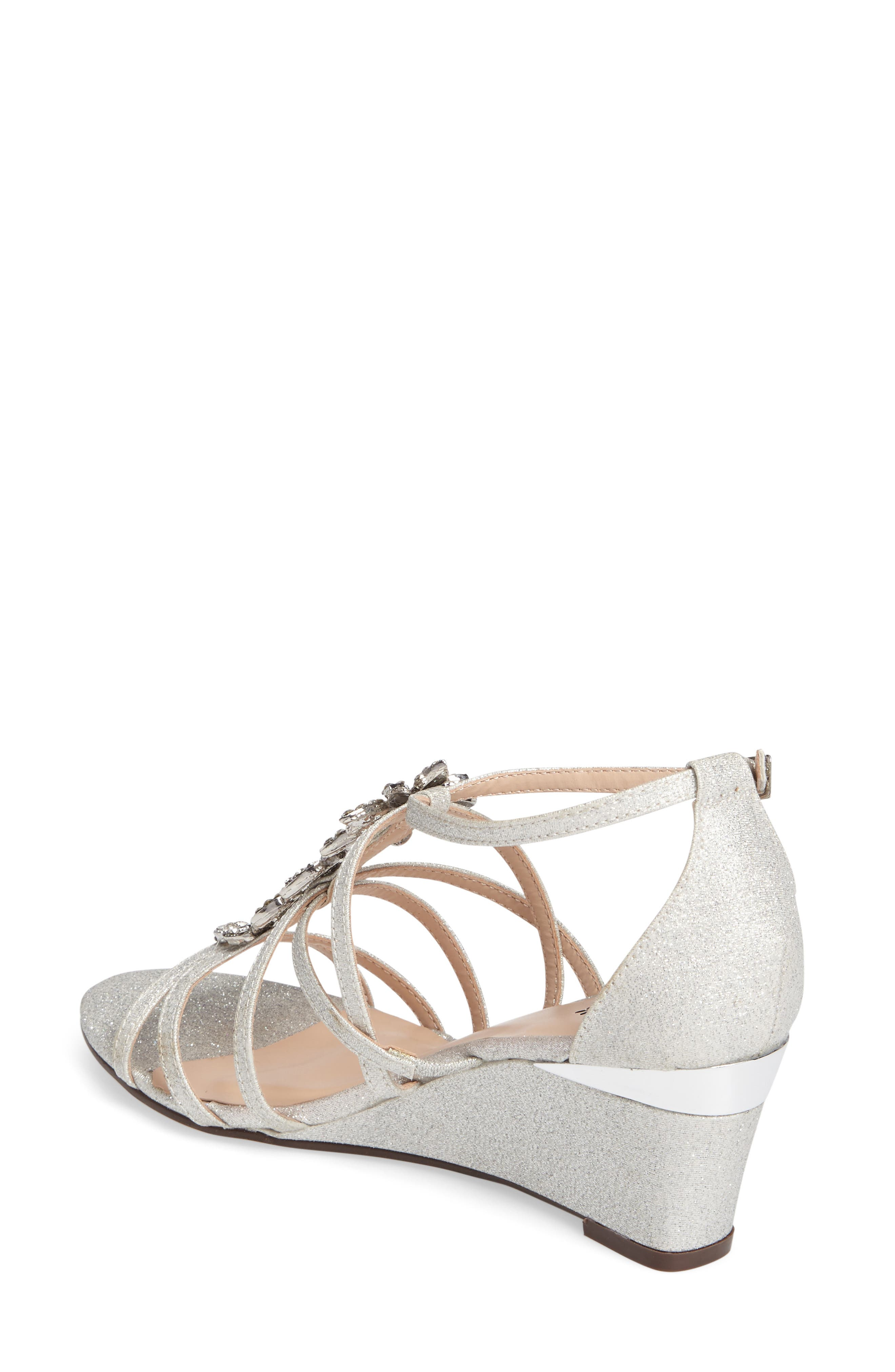 Hadley Embellished Strappy Wedge,                             Alternate thumbnail 2, color,                             Silver