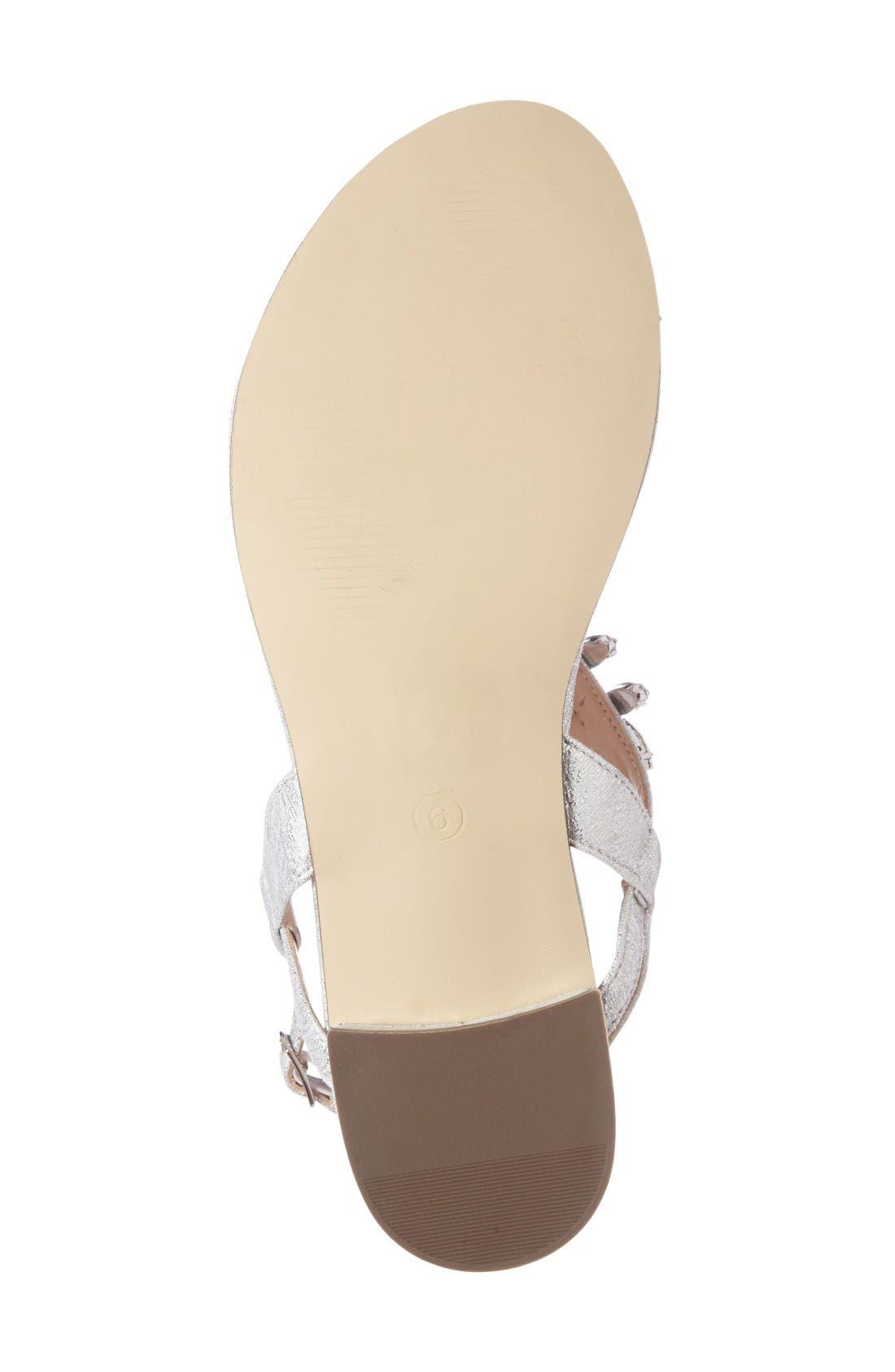 Flame Crystal Embellished Sandal,                             Alternate thumbnail 4, color,                             Silver