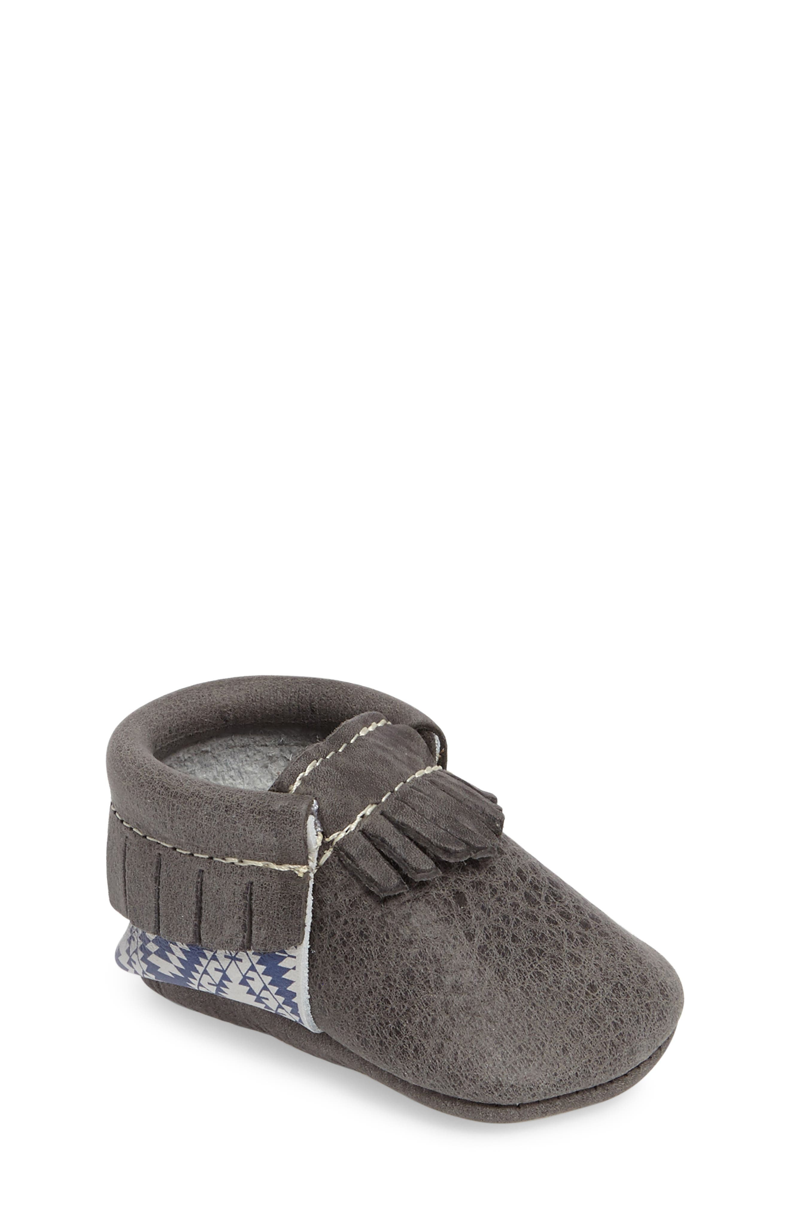 Leather Moccasin,                         Main,                         color, Dark Grey Leather