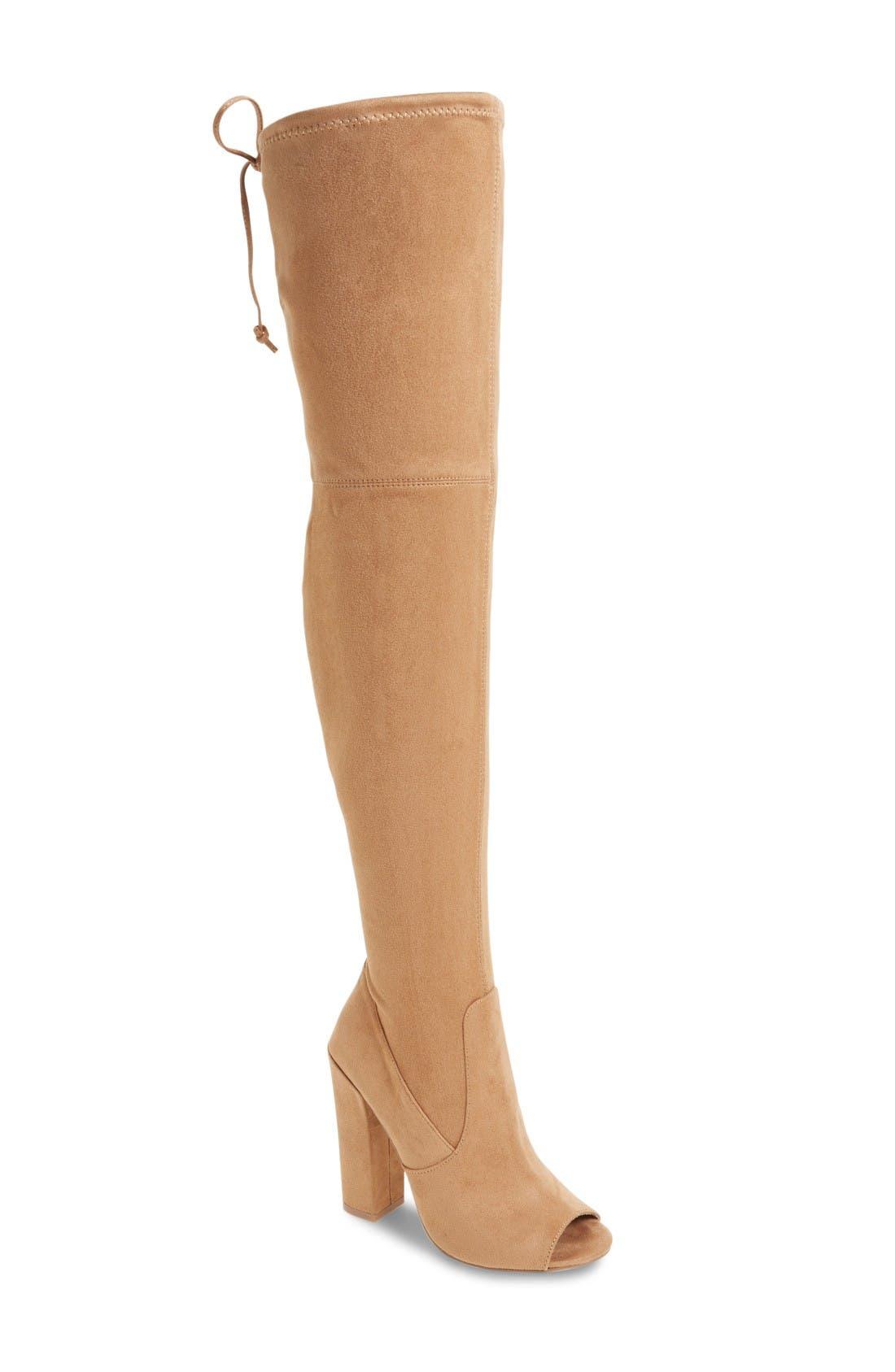 Alternate Image 1 Selected - Steve Madden Elliana Over the Knee Open Toe Boot (Women)