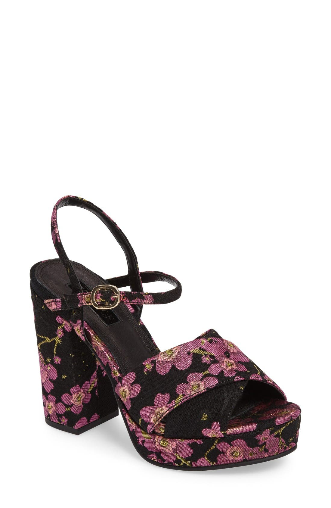 'Leona' Print Platform Sandal,                         Main,                         color, Dark Pink Multi