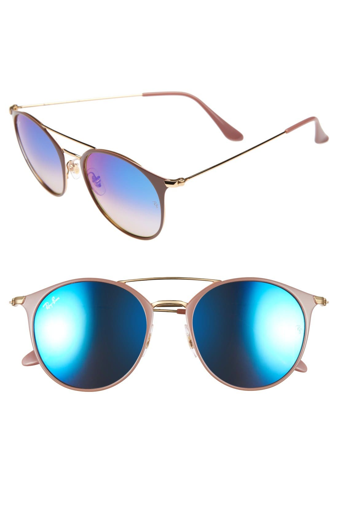 Highstreet 52mm Round Brow Bar Sunglasses,                         Main,                         color, Gold/ Beige