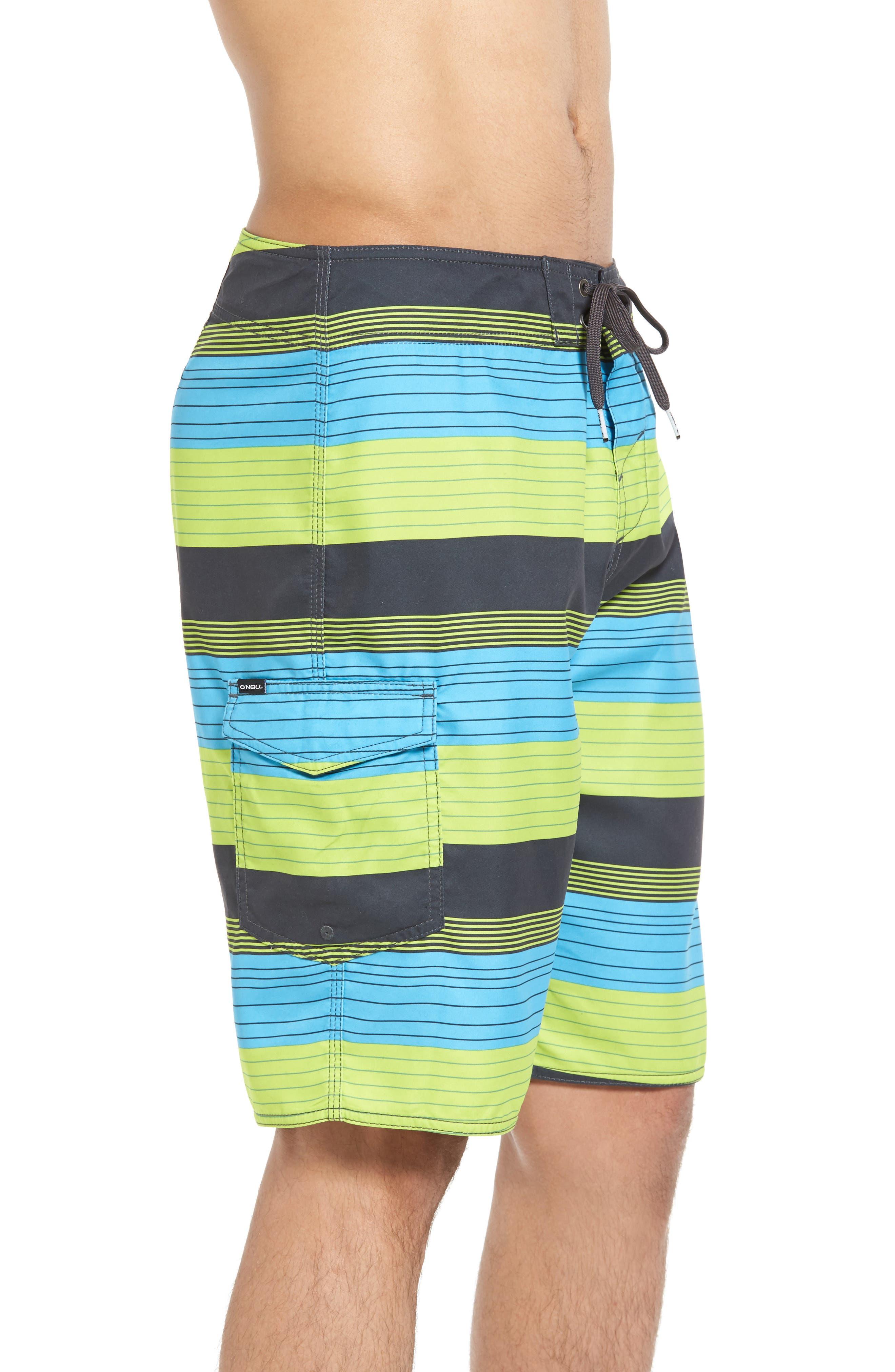 Santa Cruz Stripe Board Shorts,                             Alternate thumbnail 3, color,                             Lime