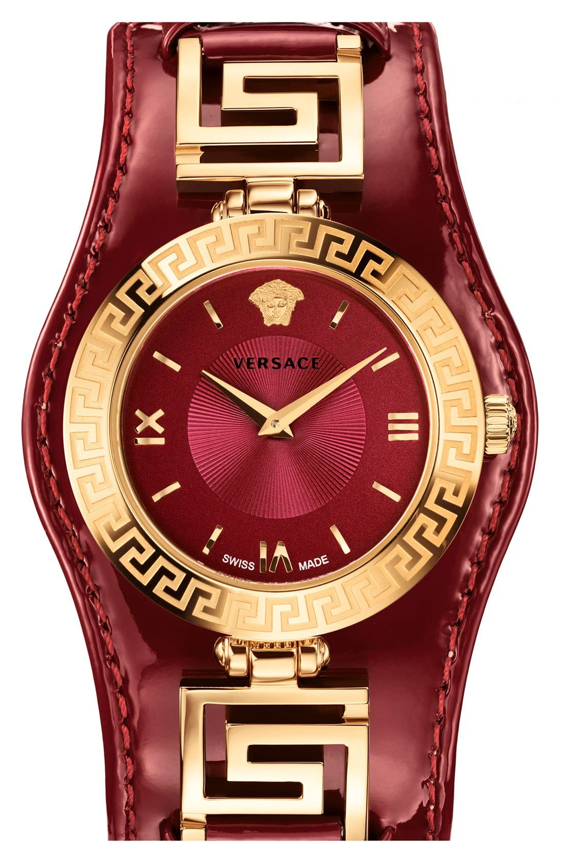 Main Image - Versace 'V-Signature' Convertible Leather Strap Watch, 35mm