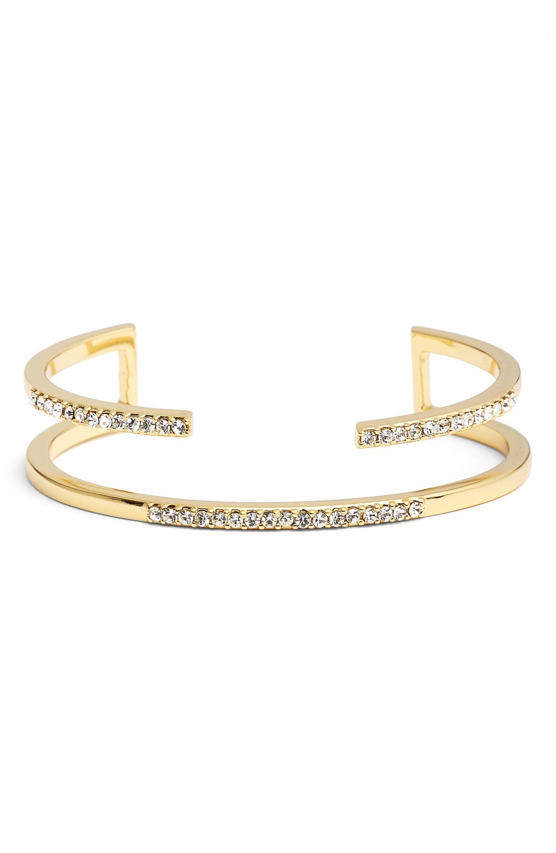 Pacey Double Layer Cuff,                         Main,                         color, Gold/ Clear