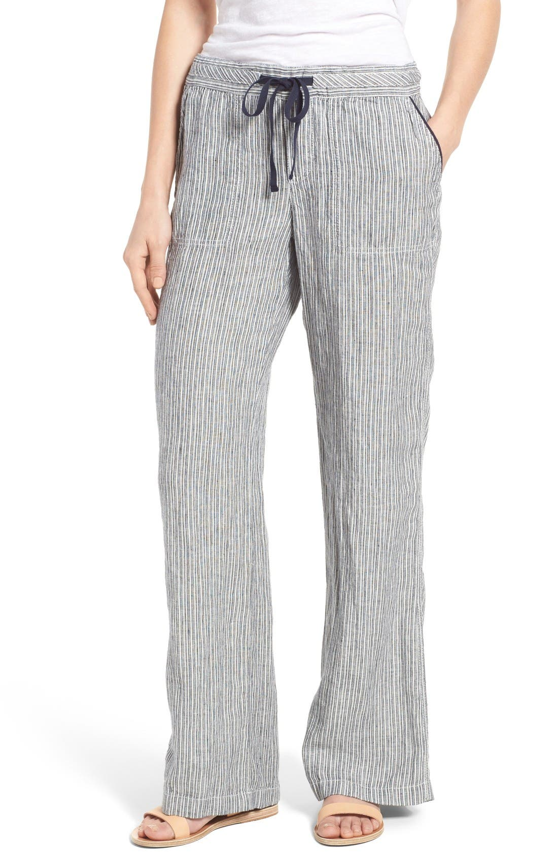 Drawstring Linen Pants,                             Main thumbnail 1, color,                             Ivory- Navy Seaside Stripe