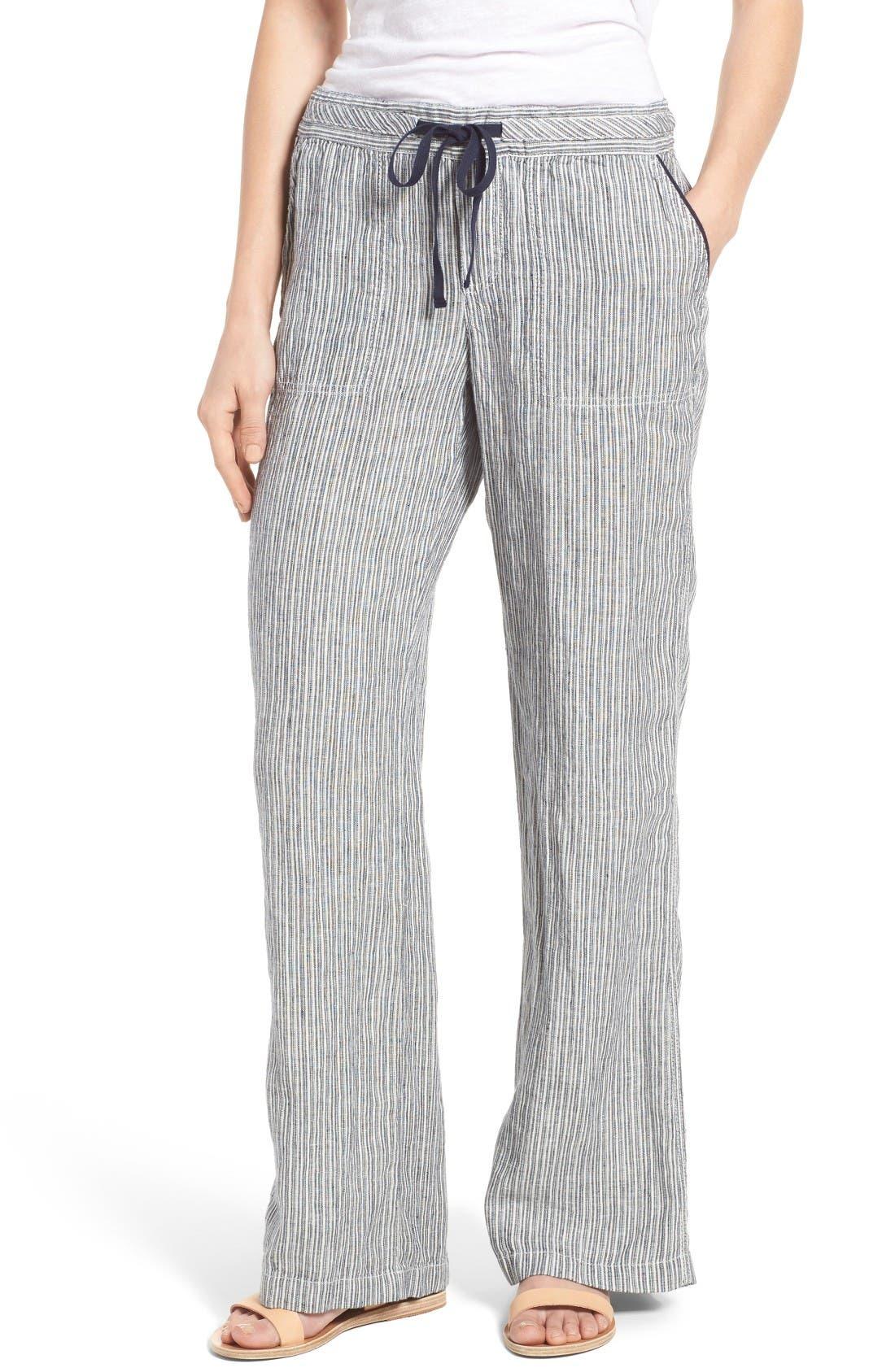 Drawstring Linen Pants,                         Main,                         color, Ivory- Navy Seaside Stripe