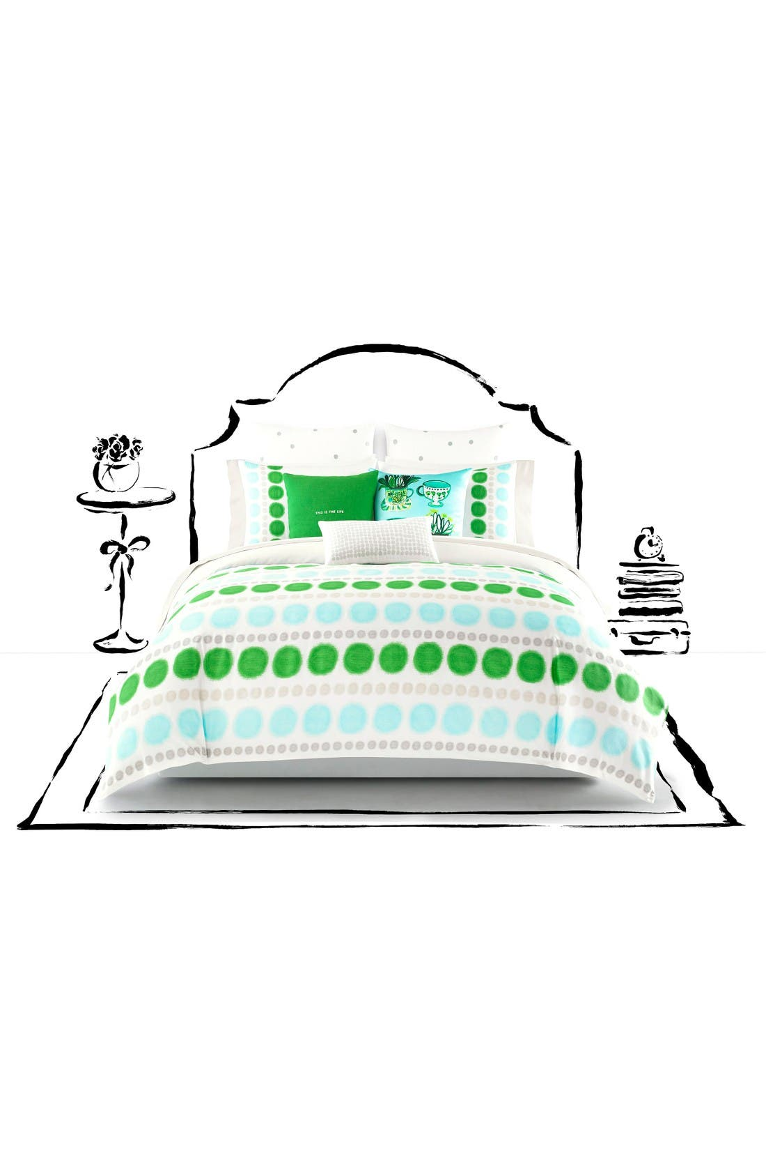 ikat dot comforter & sham set,                             Main thumbnail 1, color,                             Green