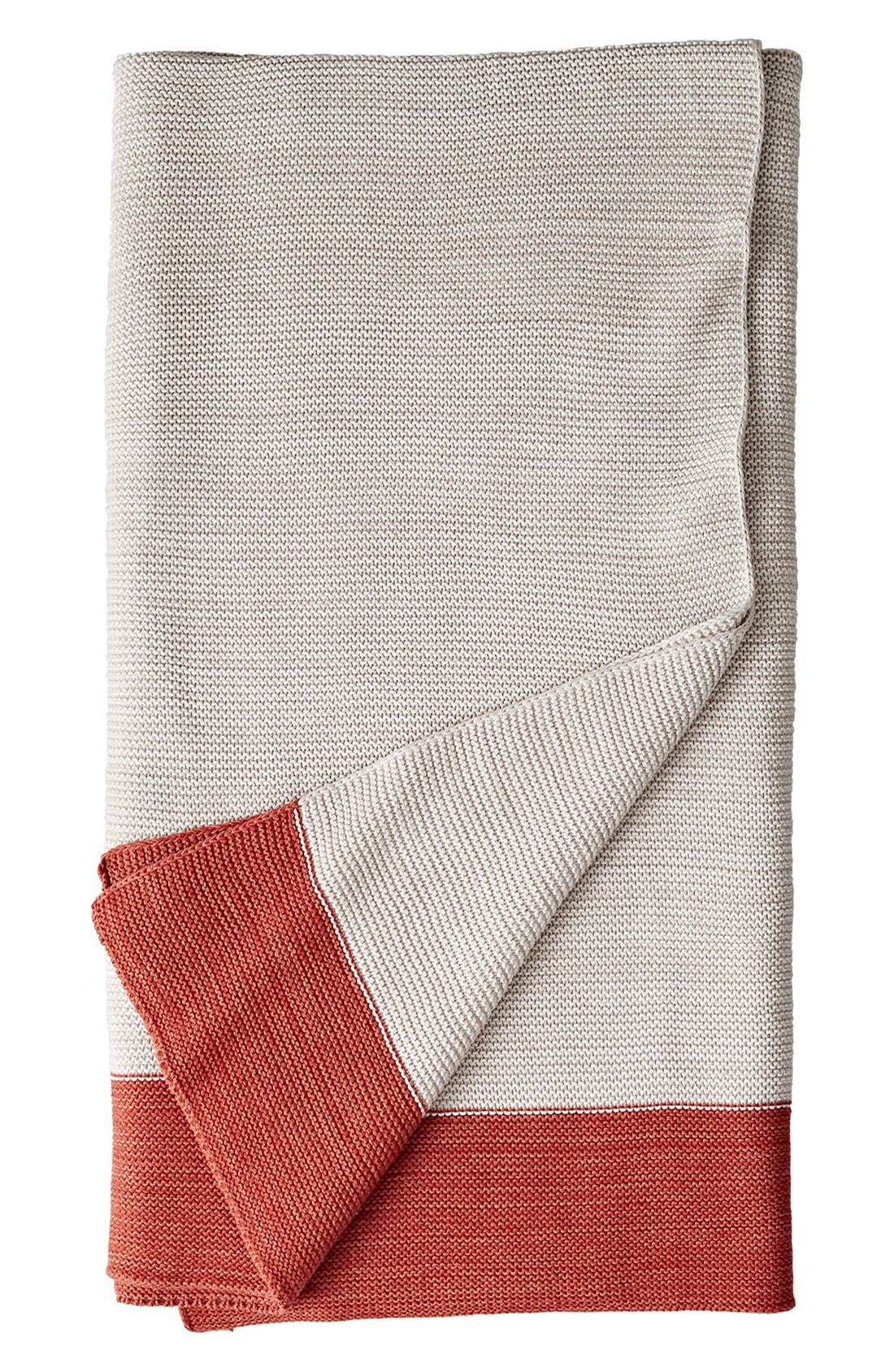 Marled Knit Throw,                         Main,                         color, Red