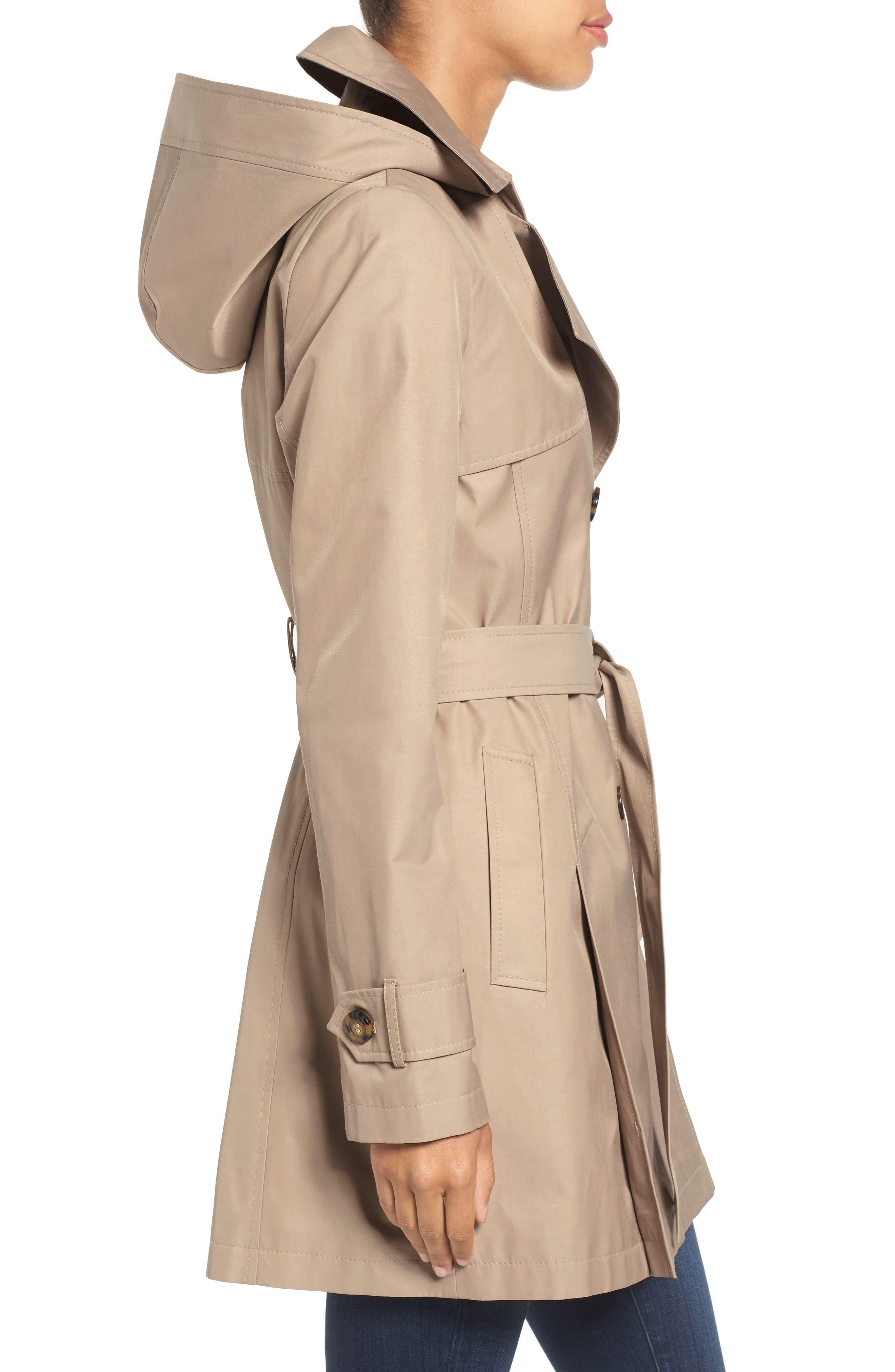 Alternate Image 3  - Halogen® Detachable Hood Trench Coat (Regular & Petite)