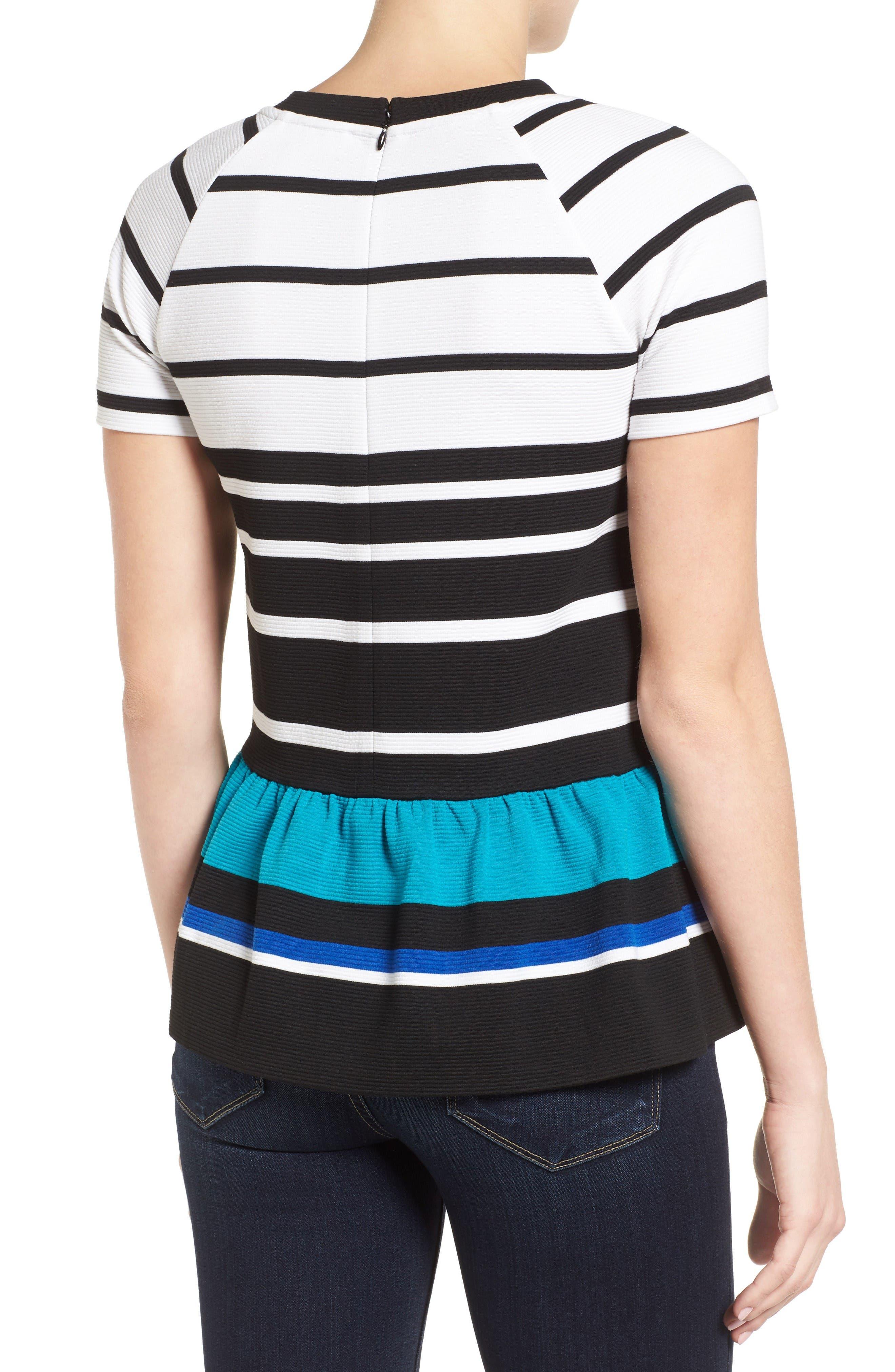 Stripe Ottoman Knit Peplum Top,                             Alternate thumbnail 2, color,                             Dark Peacock