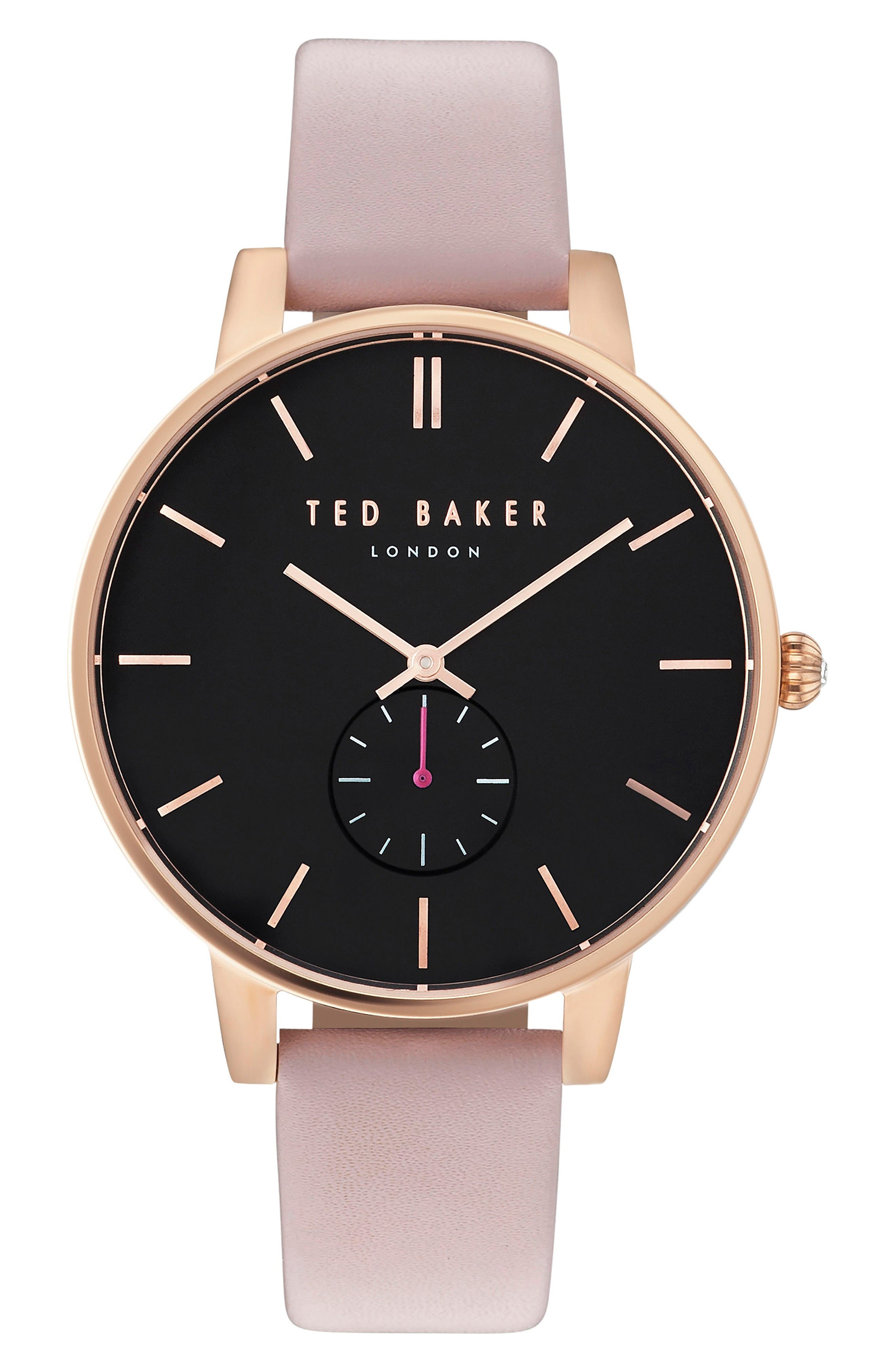 Ted Baker London Olivia Round Leather Strap Watch, 40mm
