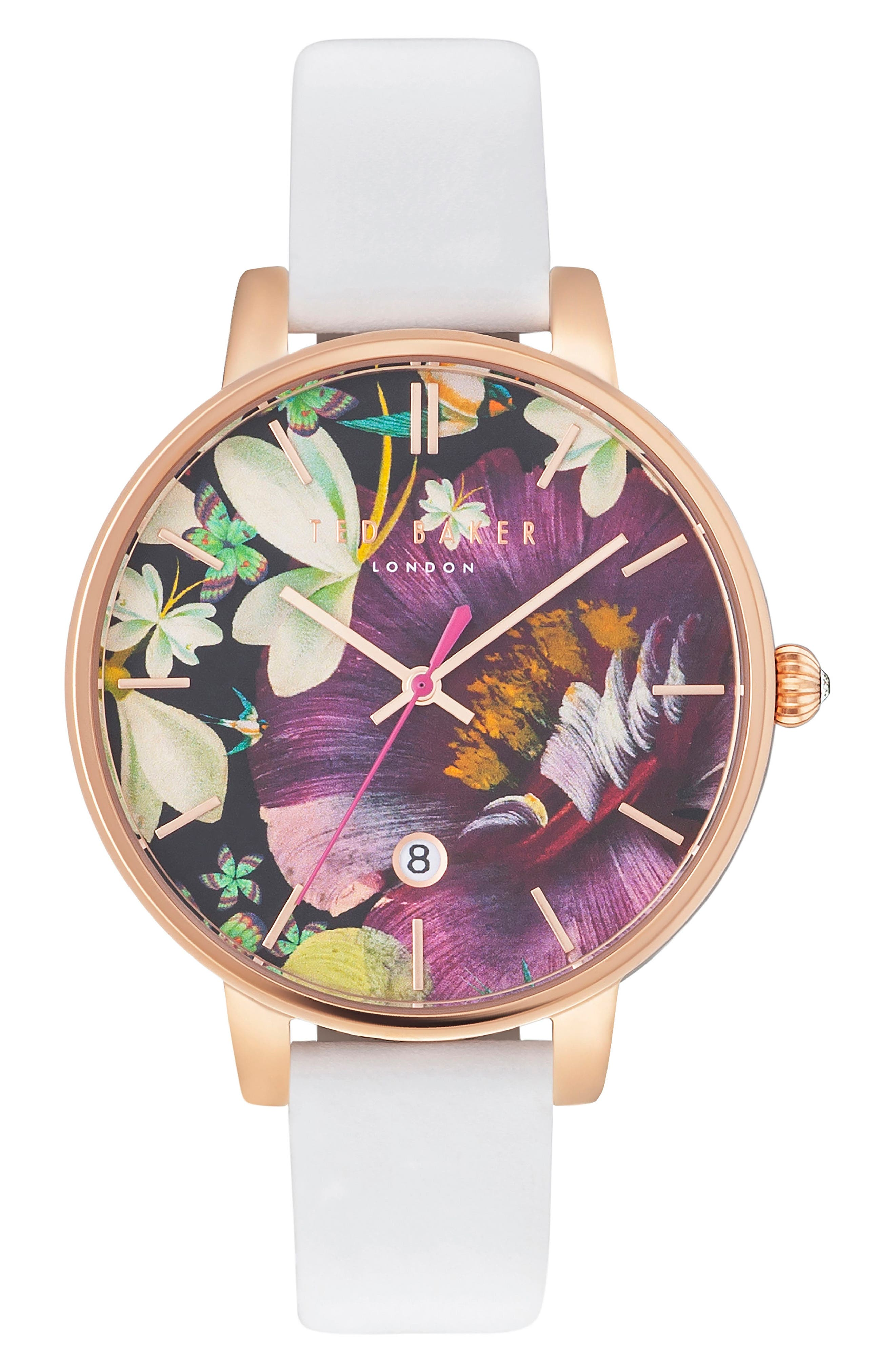 Alternate Image 1 Selected - Ted Baker London Kate Round Leather Strap Watch, 38mm