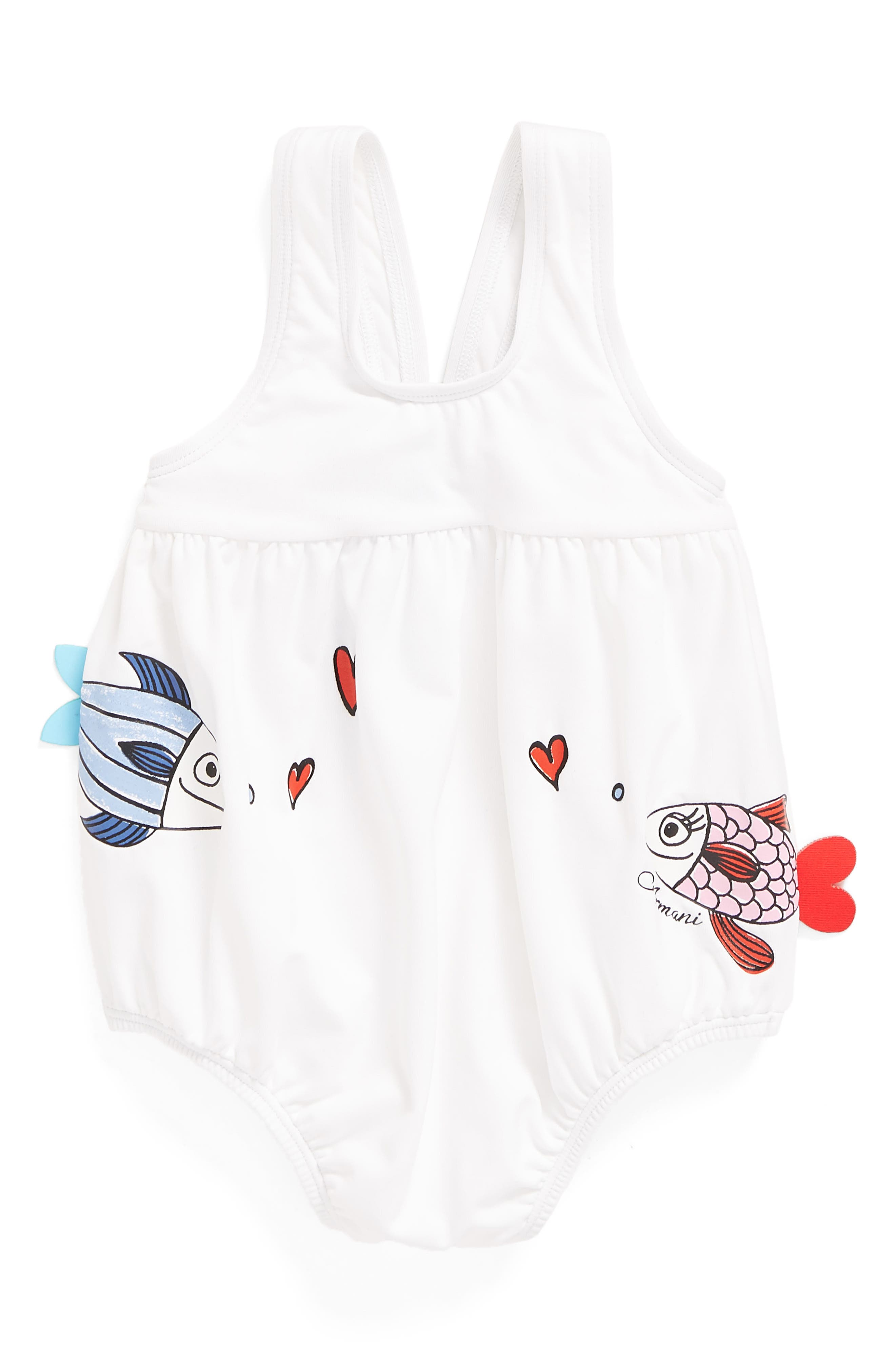 Armani Junior Kissing Fish One-Piece Swimsuit (Baby Girls)