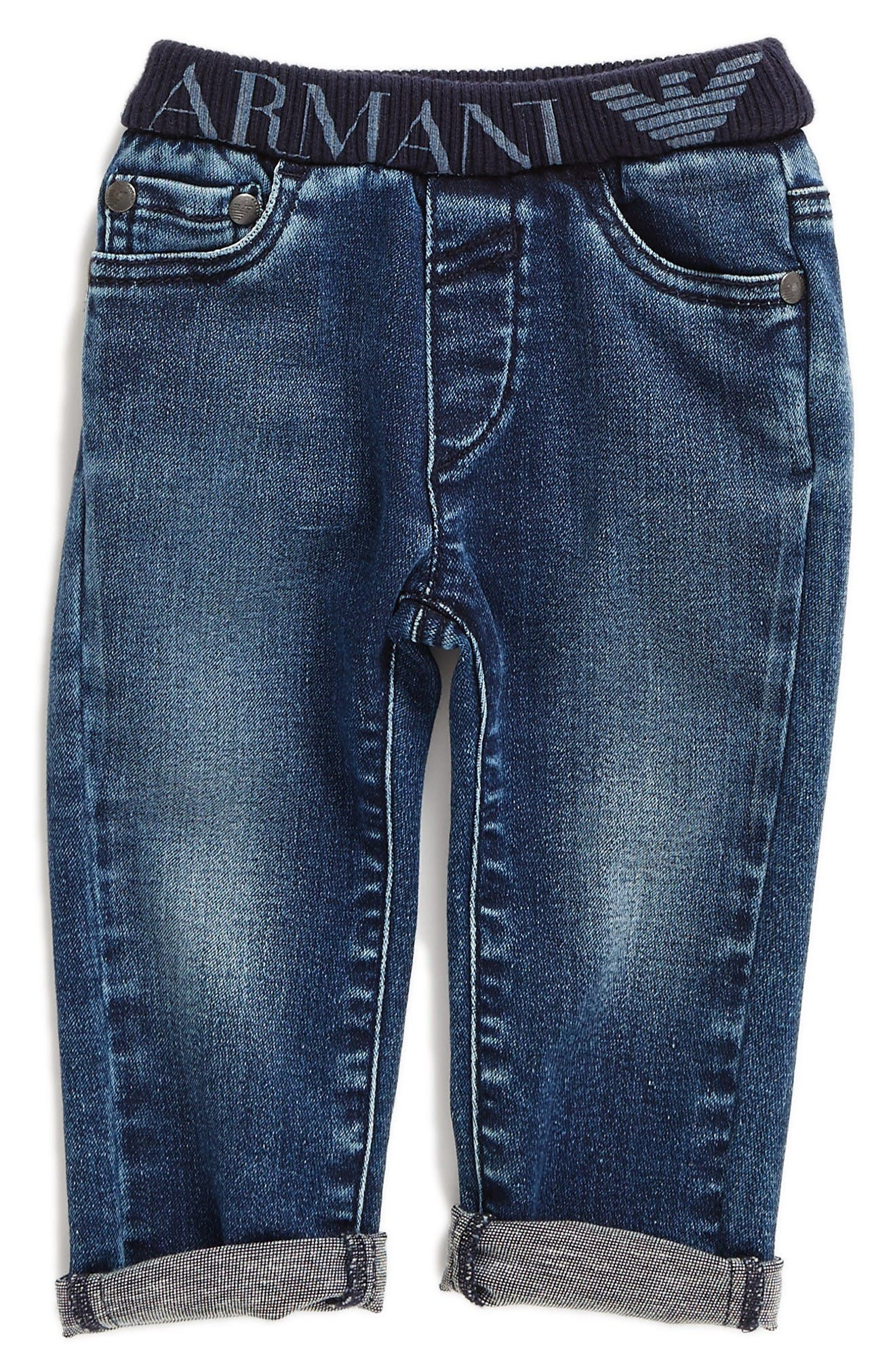 Elastic Waist Cuffed Jeans,                         Main,                         color, Blue