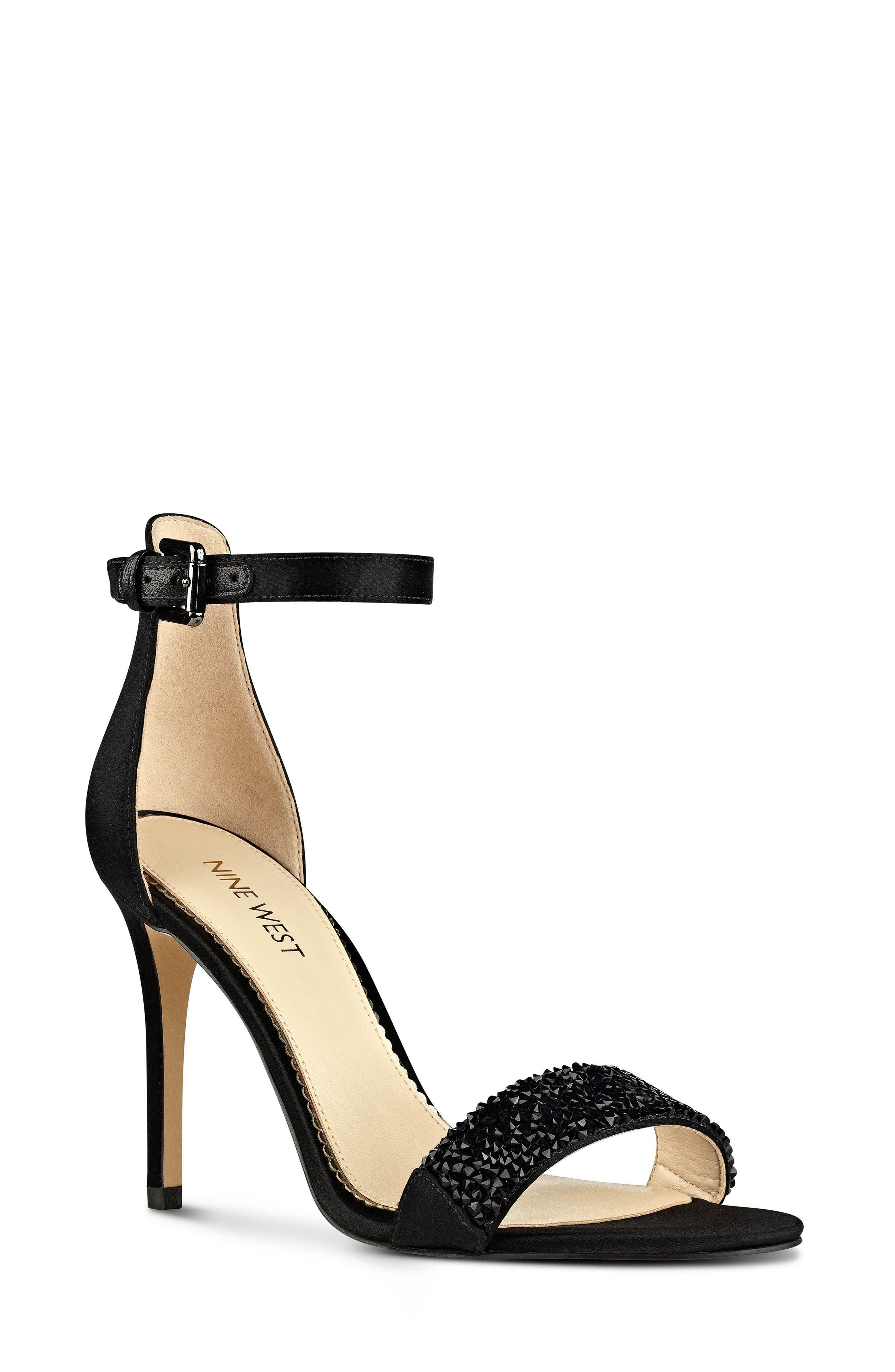 'Mana' Ankle Strap Sandal,                             Main thumbnail 1, color,                             Black Satin
