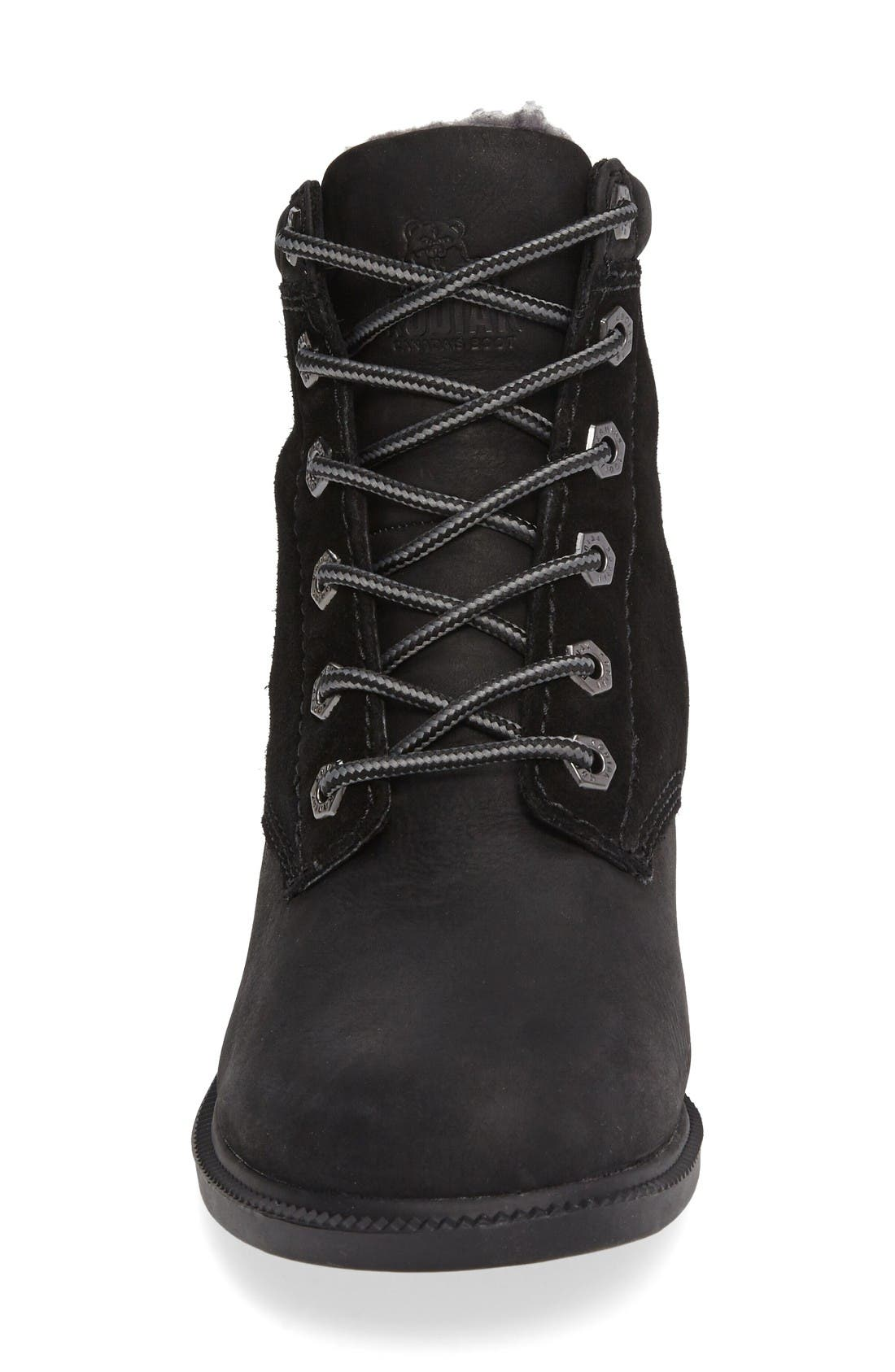 Original Waterproof Fleece Boot,                             Alternate thumbnail 3, color,                             Black Leather