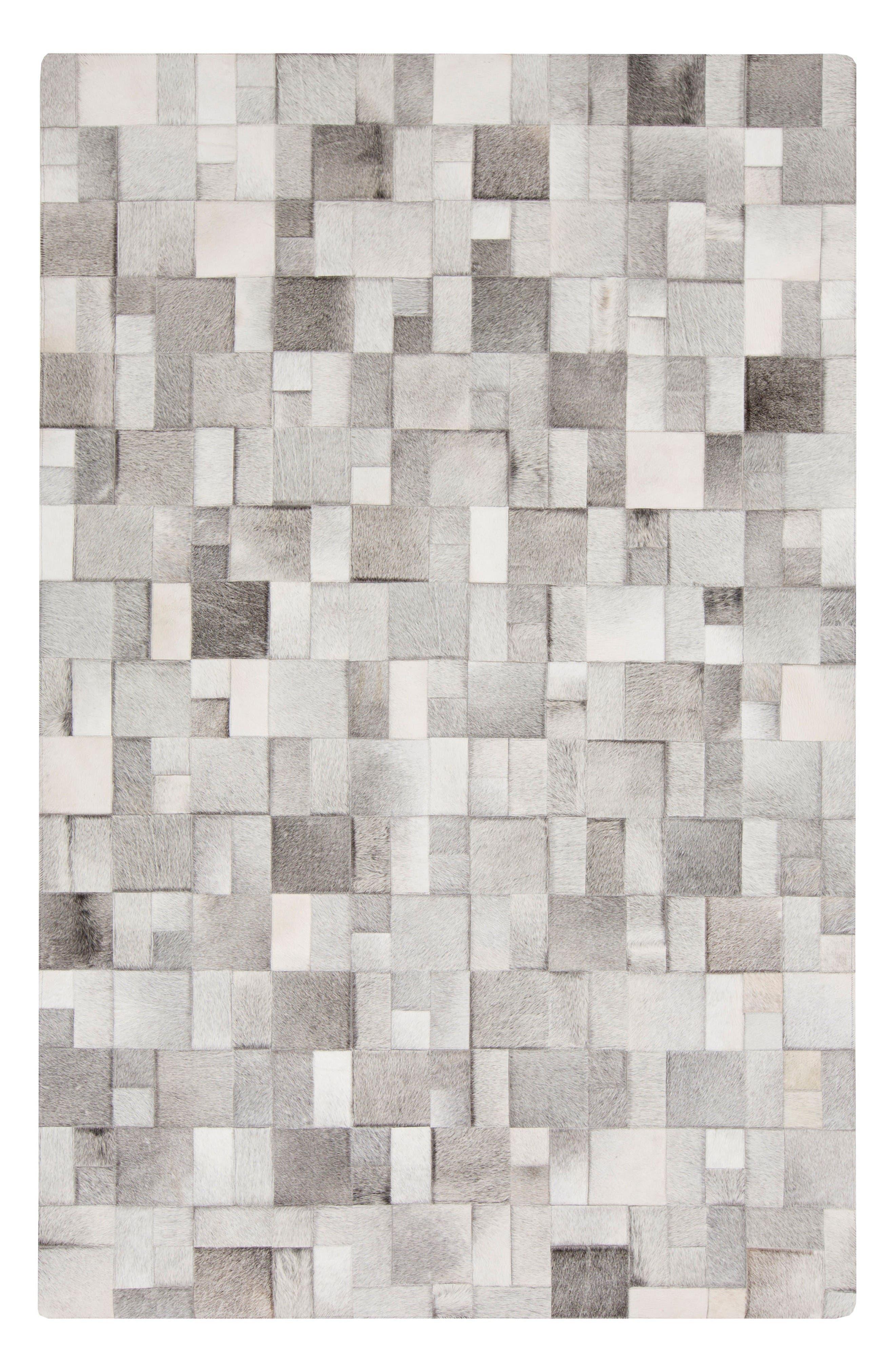 Outback Blurred Bricks Calf Hair Rug,                             Main thumbnail 1, color,                             Grey