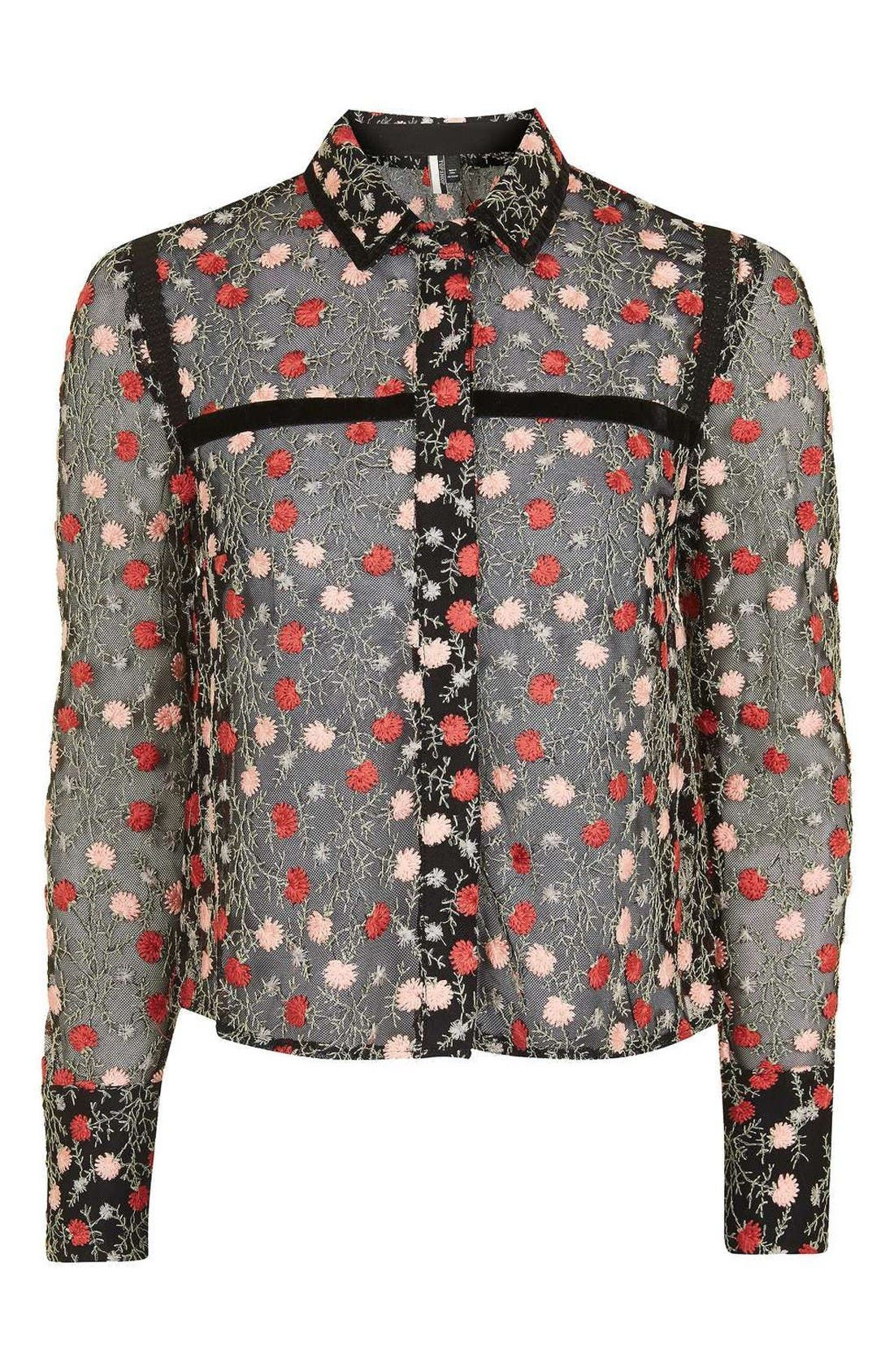Alternate Image 5  - Topshop Floral Embroidered Top