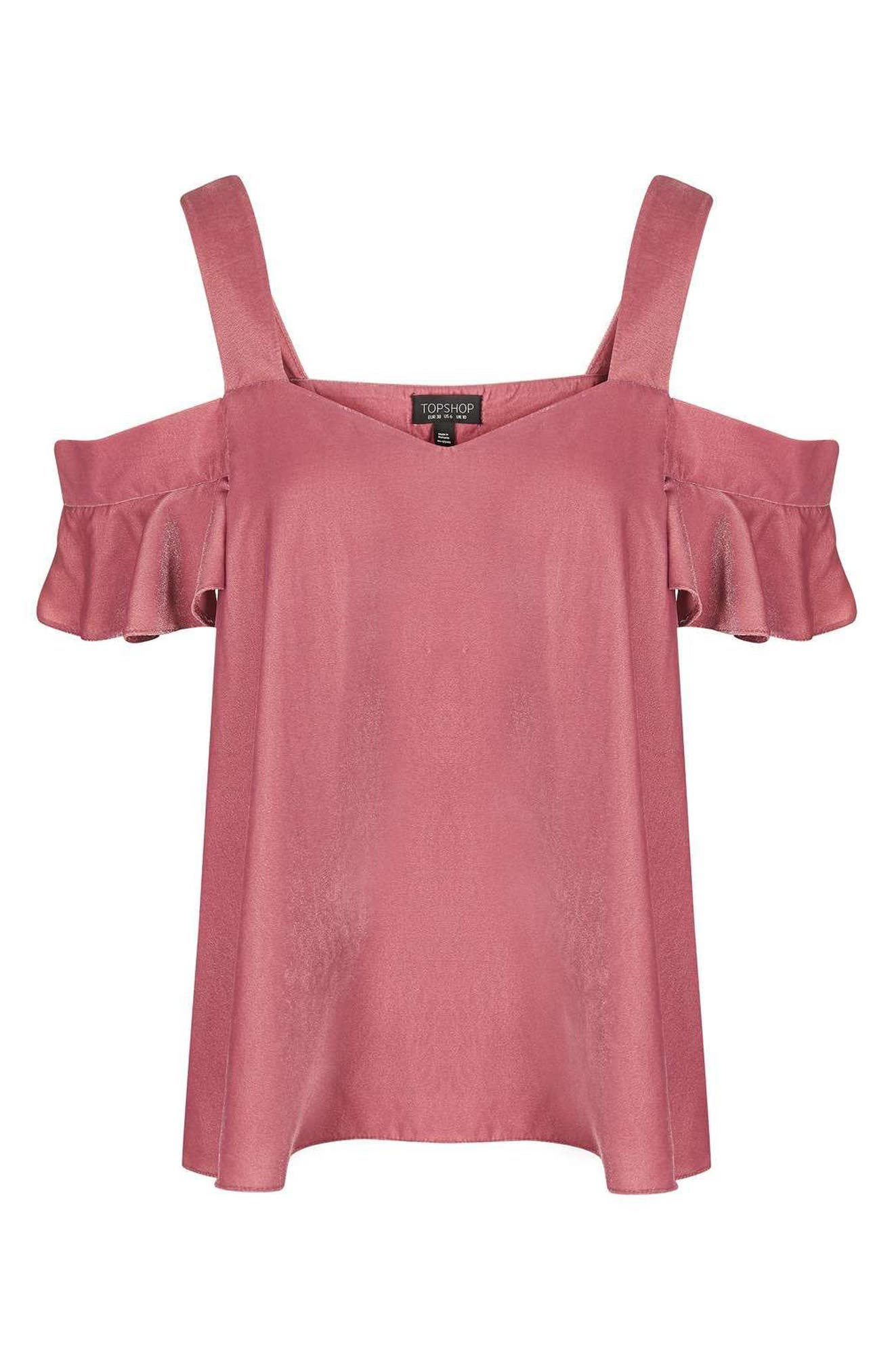 Alternate Image 4  - Topshop Polly Bardot Velvet Top (Regular & Petite)