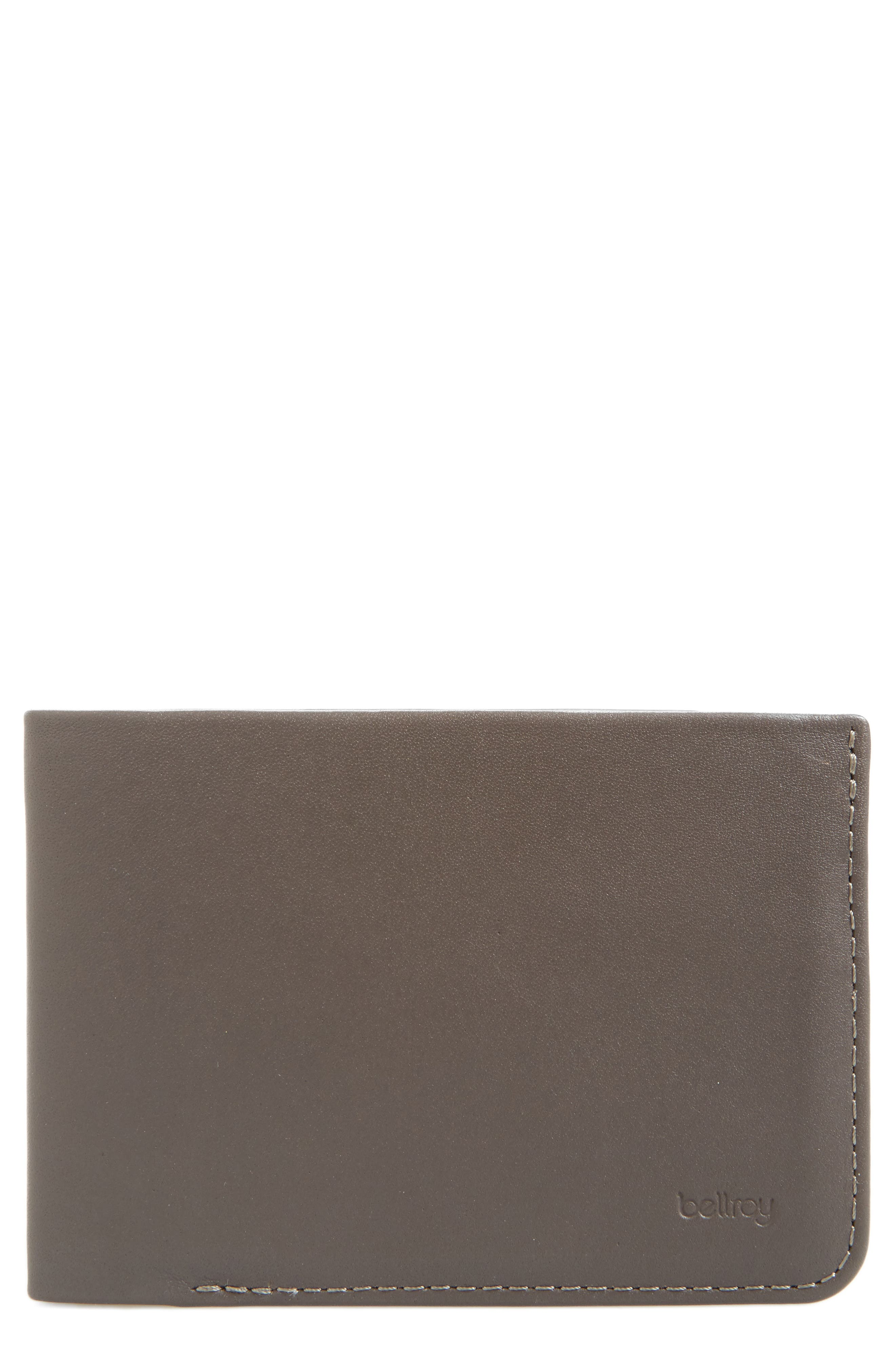 Low Down Leather Wallet,                             Main thumbnail 1, color,                             Charcoal