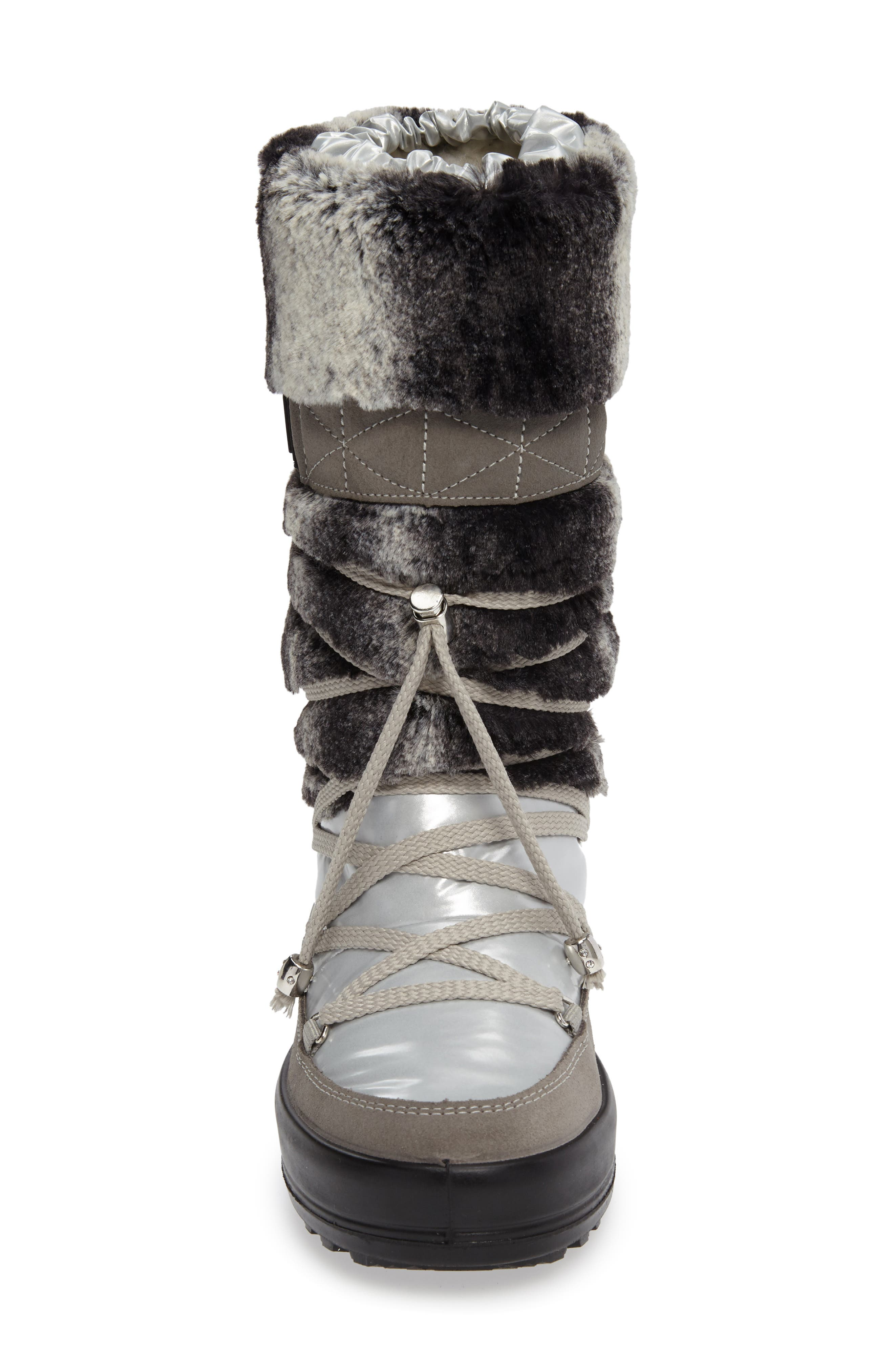 Kitzbuhel Faux Fur Waterproof Quilted Boot,                             Alternate thumbnail 3, color,                             Silver/ Lapin