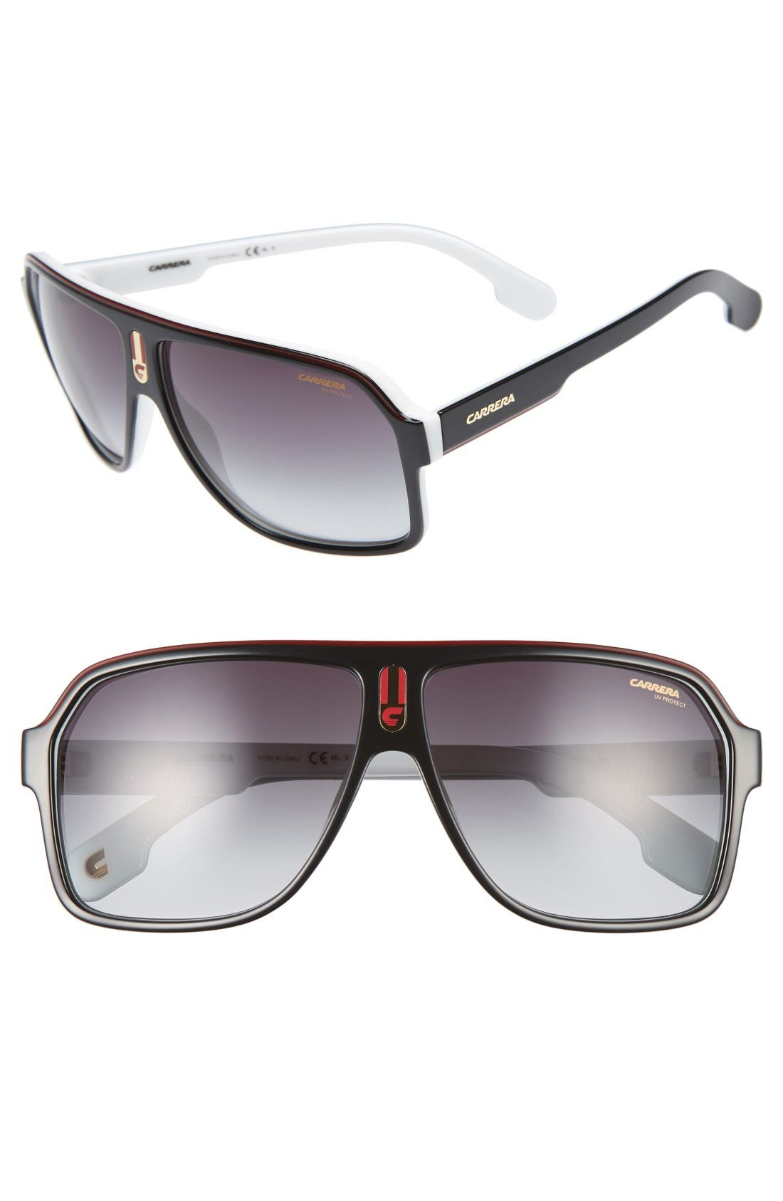 62mm Aviator Sunglasses,                         Main,                         color, Black White
