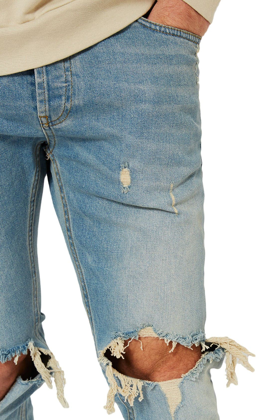 Alternate Image 4  - Topman Ripped Stretch Skinny Jeans