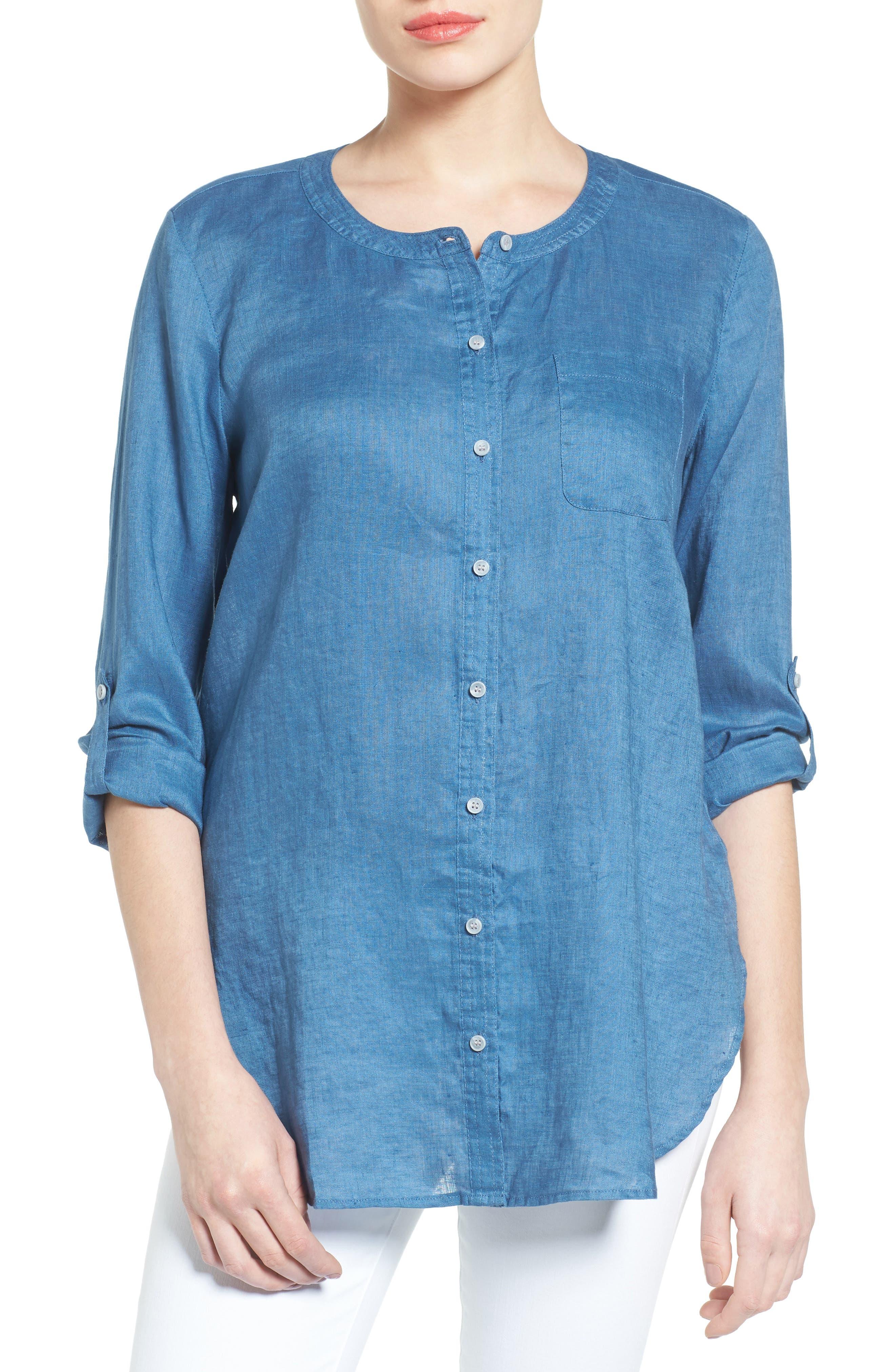 Collarless Linen Shirt,                         Main,                         color, Night Dive