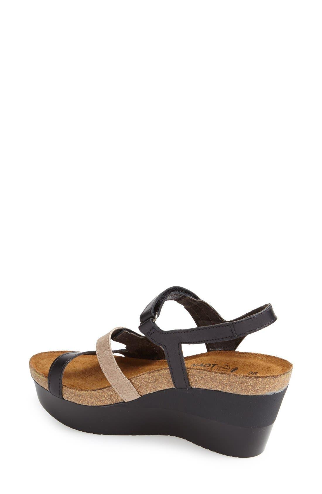 'Canaan' Wedge Sandal,                             Alternate thumbnail 2, color,                             Black/ Beige