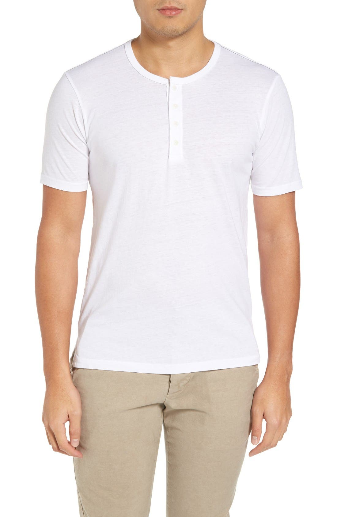 Triblend Split Hem Henley,                         Main,                         color, White